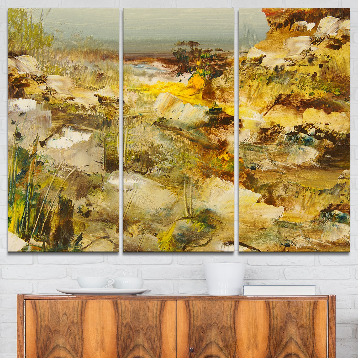Shop Yellow Stones Heavily Textured - Landscape Painting Glossy ...