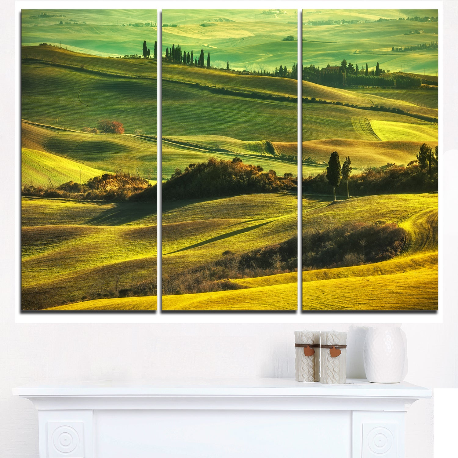 Green Rolling Hills on Misty Sunset - Oversized Landscape Glossy ...