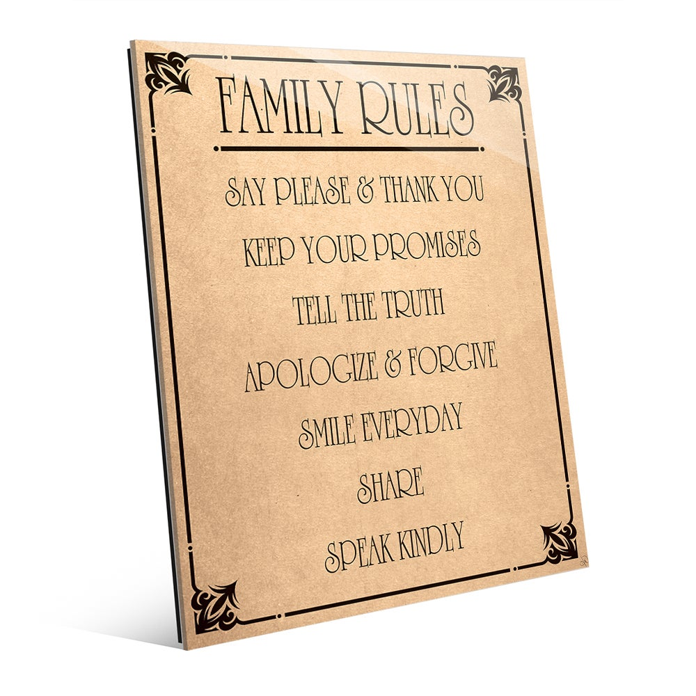 Shop Family Rules\' Paper Wall Art on Glass - Free Shipping Today ...
