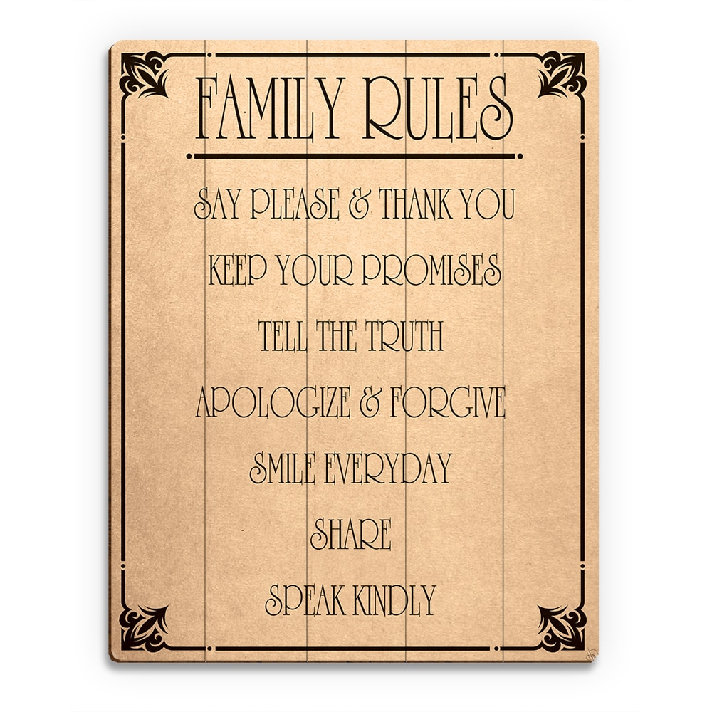 Shop Family Rules\' Paper Wood Wall Art - Free Shipping Today ...