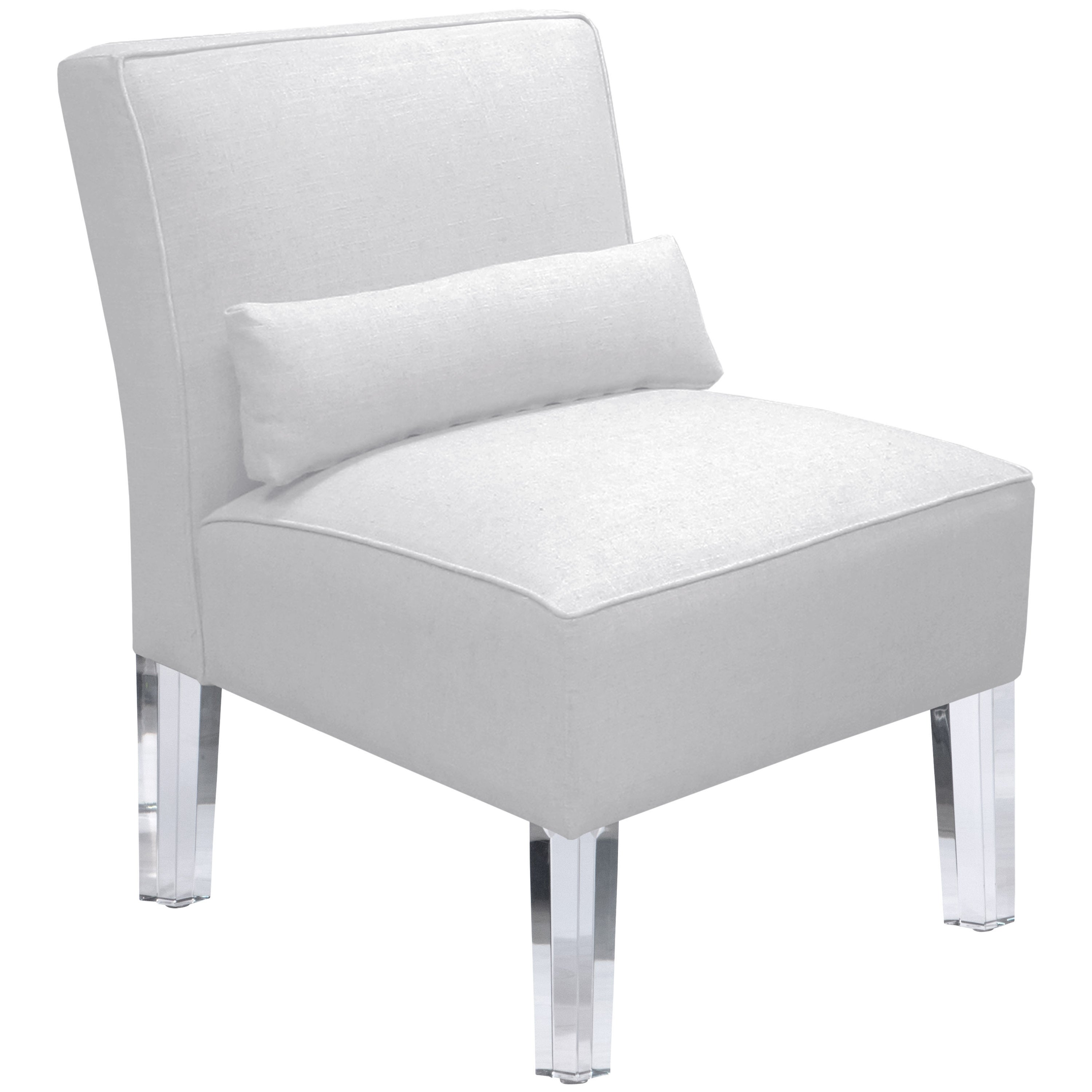 Shop skyline furniture duck white armless chair with acrylic legs on sale free shipping today overstock com 12683436