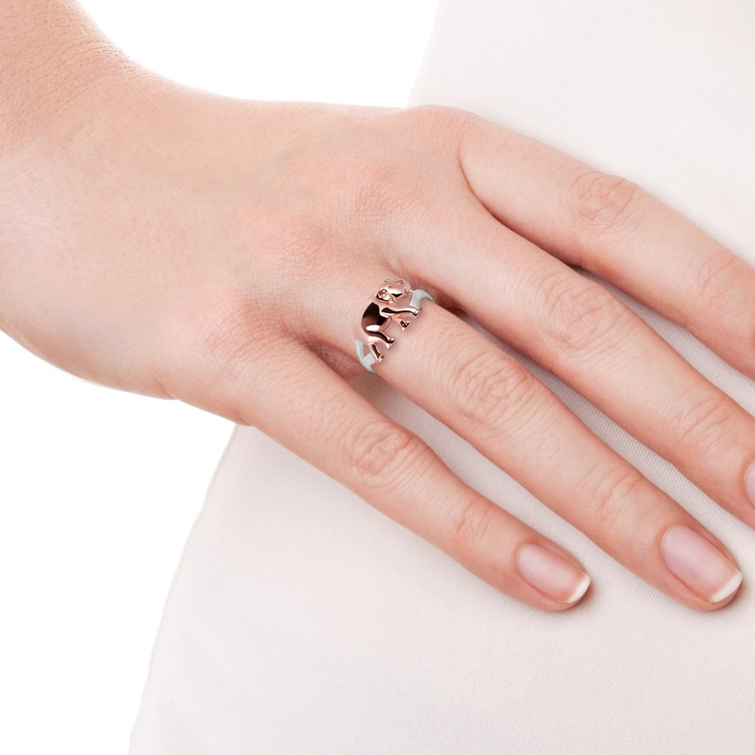 Handmade Virtuous Two Tone Elephant Gold over Sterling Silver Ring ...
