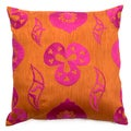 Orange/Pink Cotton/Polyester Shanghai Throw pillow