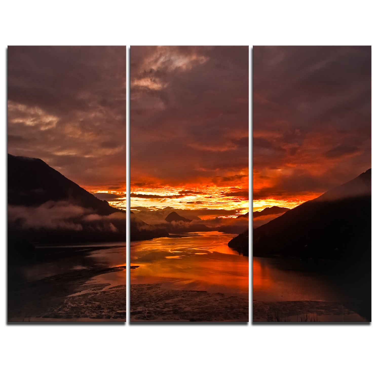 Designart sunrise in cloudy day new zealand landscape photo glossy metal wall art free shipping today overstock 19480647