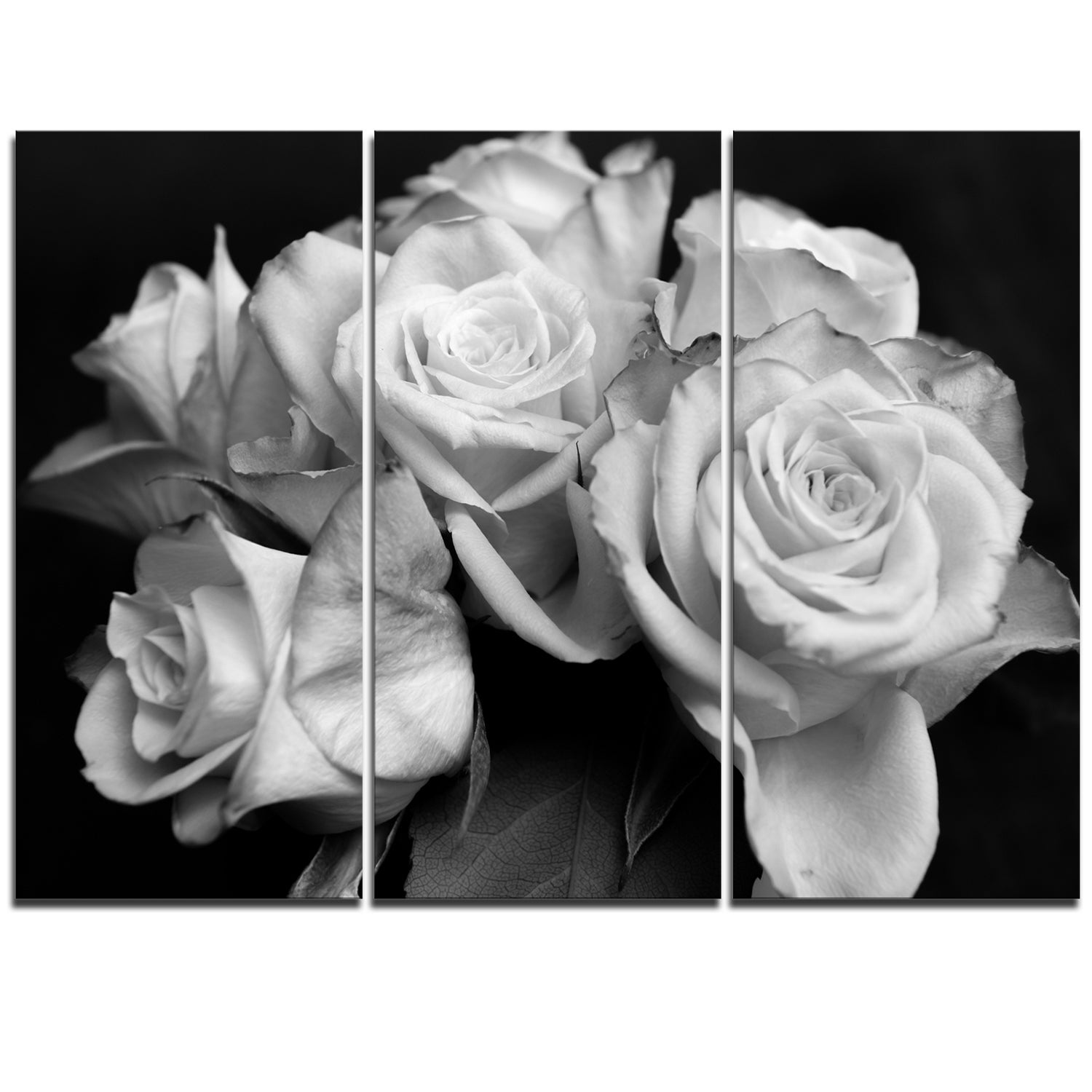 Shop Designart Bunch Of Roses Black And White Floral Glossy