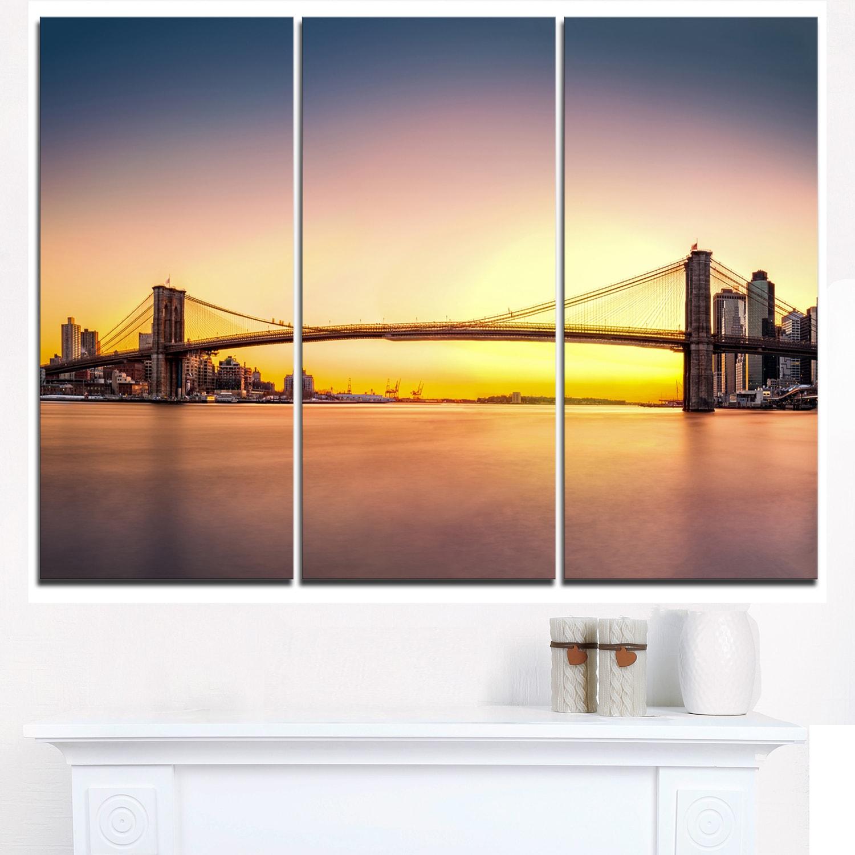 Designart - Brooklyn Bridge Panorama Yellow Sky - Cityscape Glossy ...