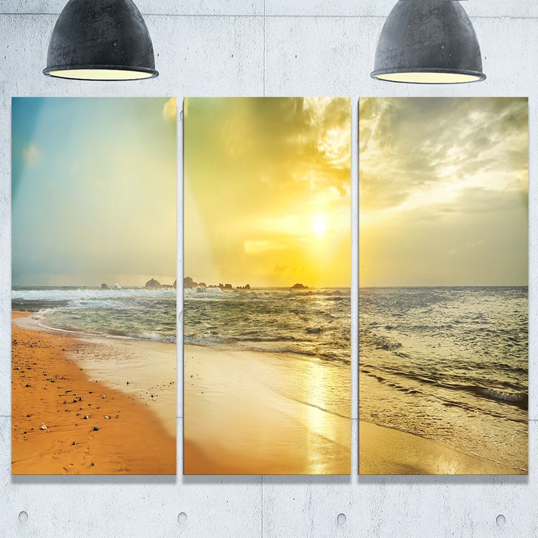 Designart - Bright Yellow Sunset Beach Panorama - Modern Seascape ...