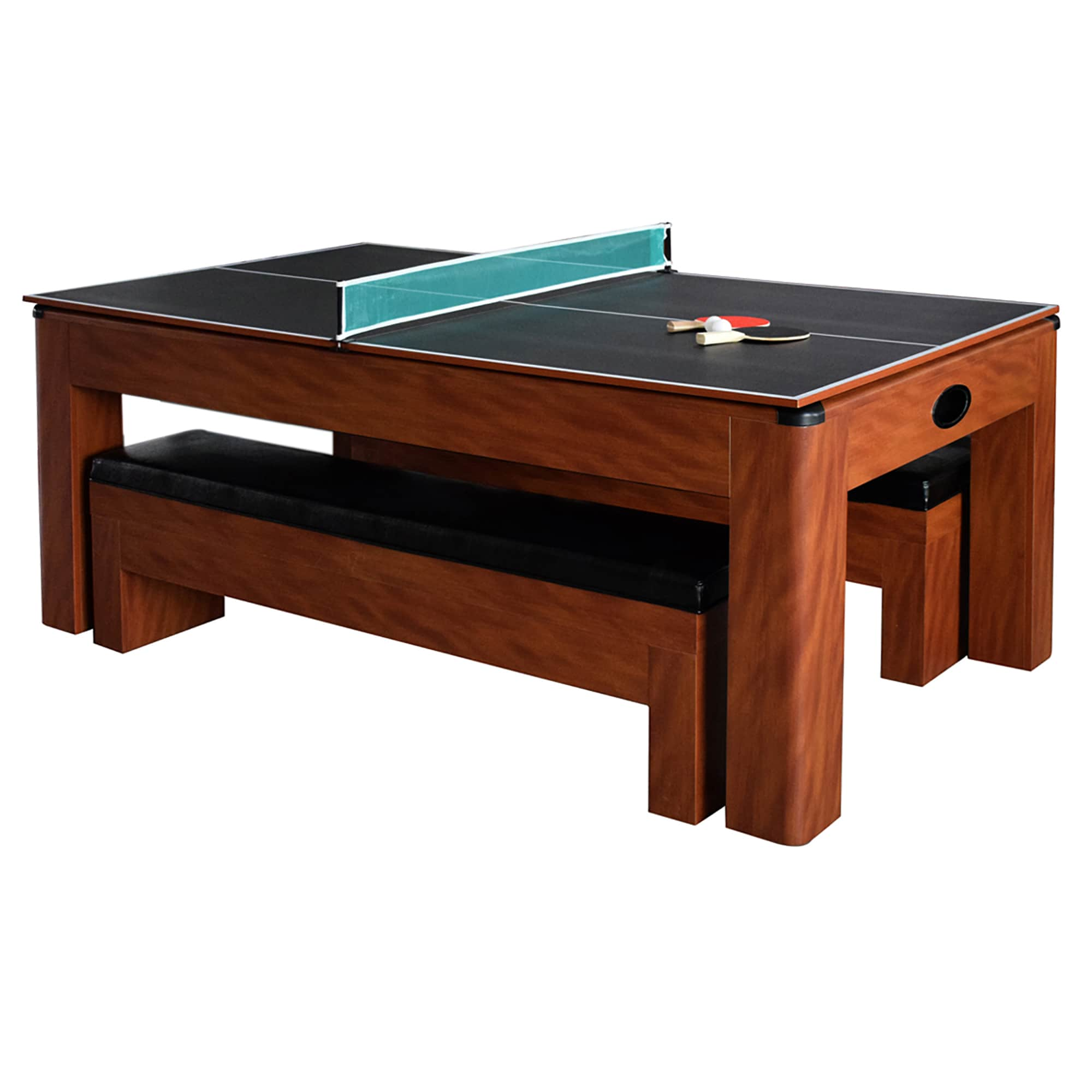 Shop Sherwood Brown MDF 7 Foot Air Hockey Table With Benches   Free  Shipping Today   Overstock.com   12707851