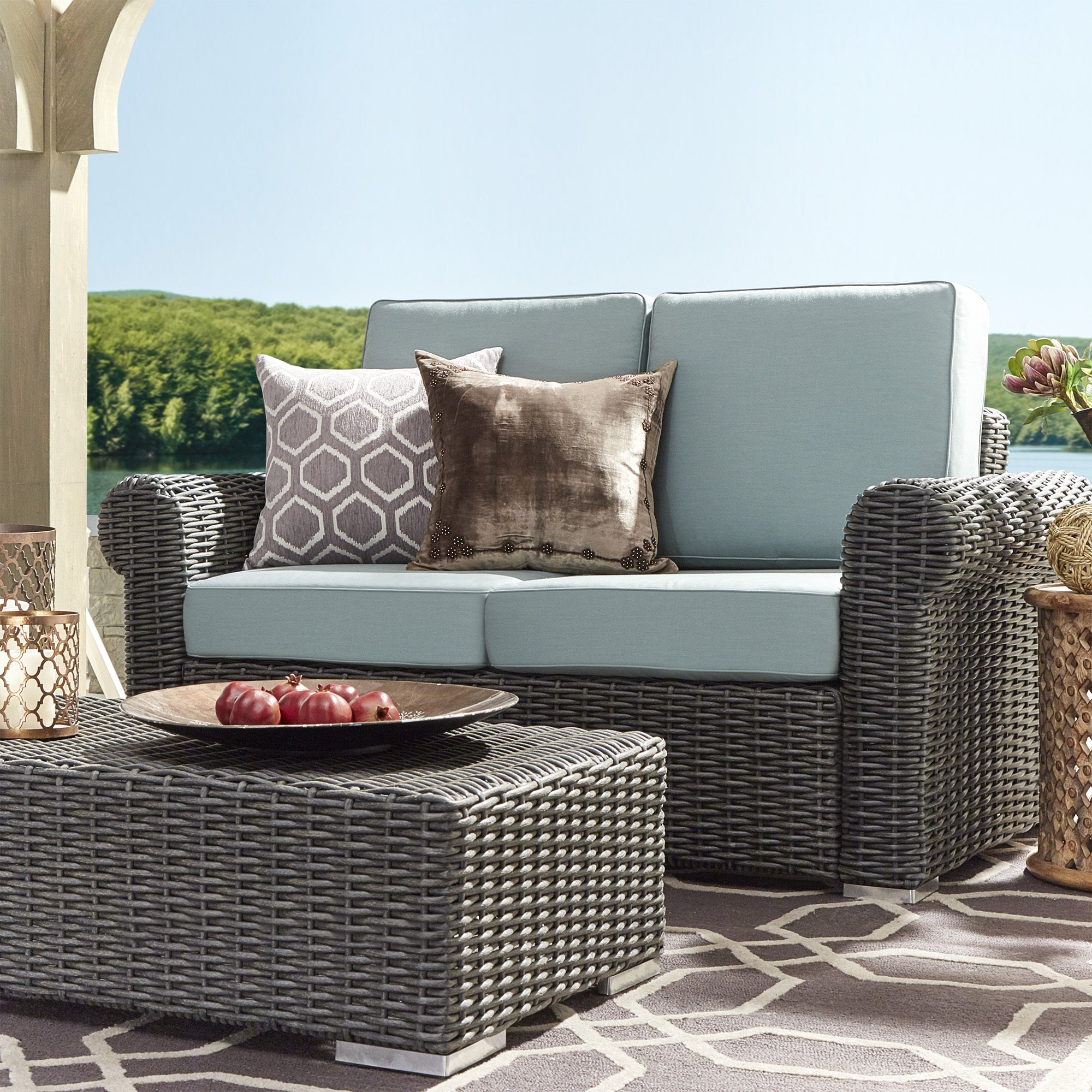 Barbados Wicker Outdoor Cushioned Grey Charcoal Loveseat with Rolled ...
