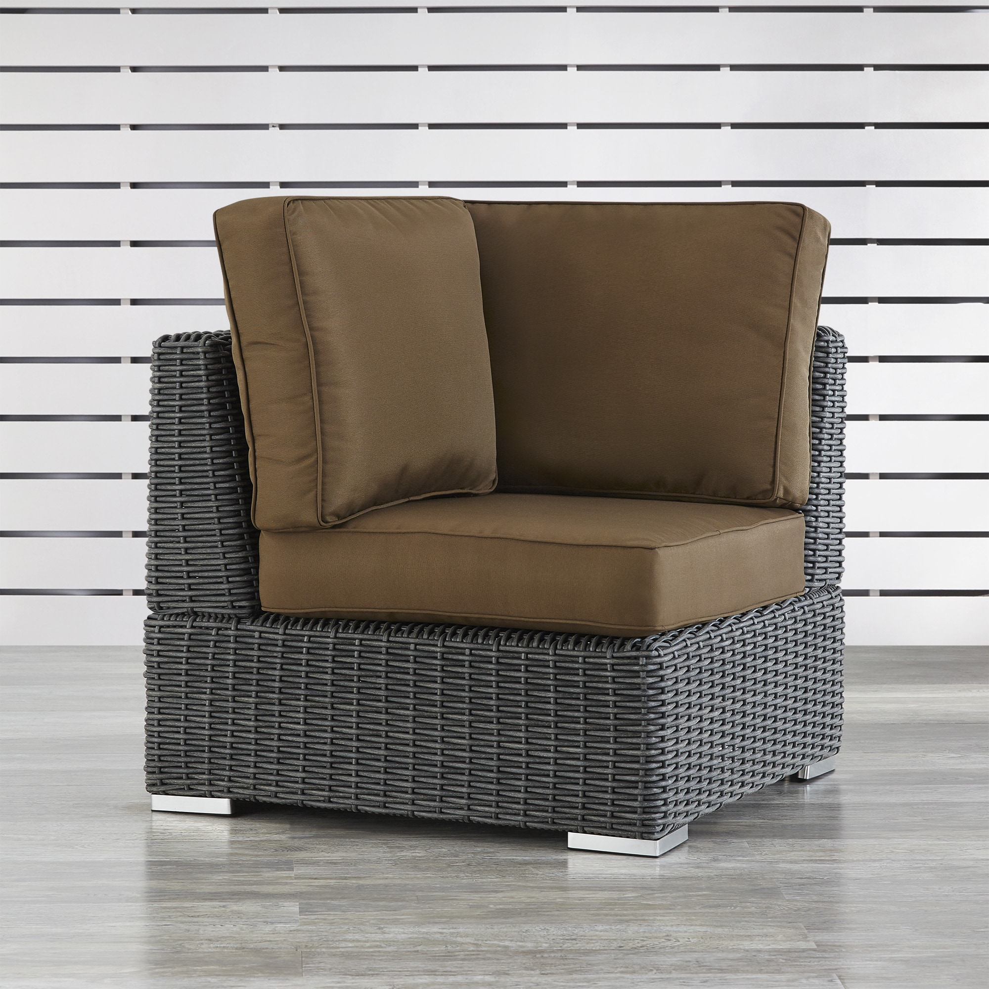 Barbados Wicker Outdoor Cushioned Grey Charcoal Sectional Corner Chair  iNSPIRE Q Oasis - Free Shipping Today - Overstock.com - 19490218