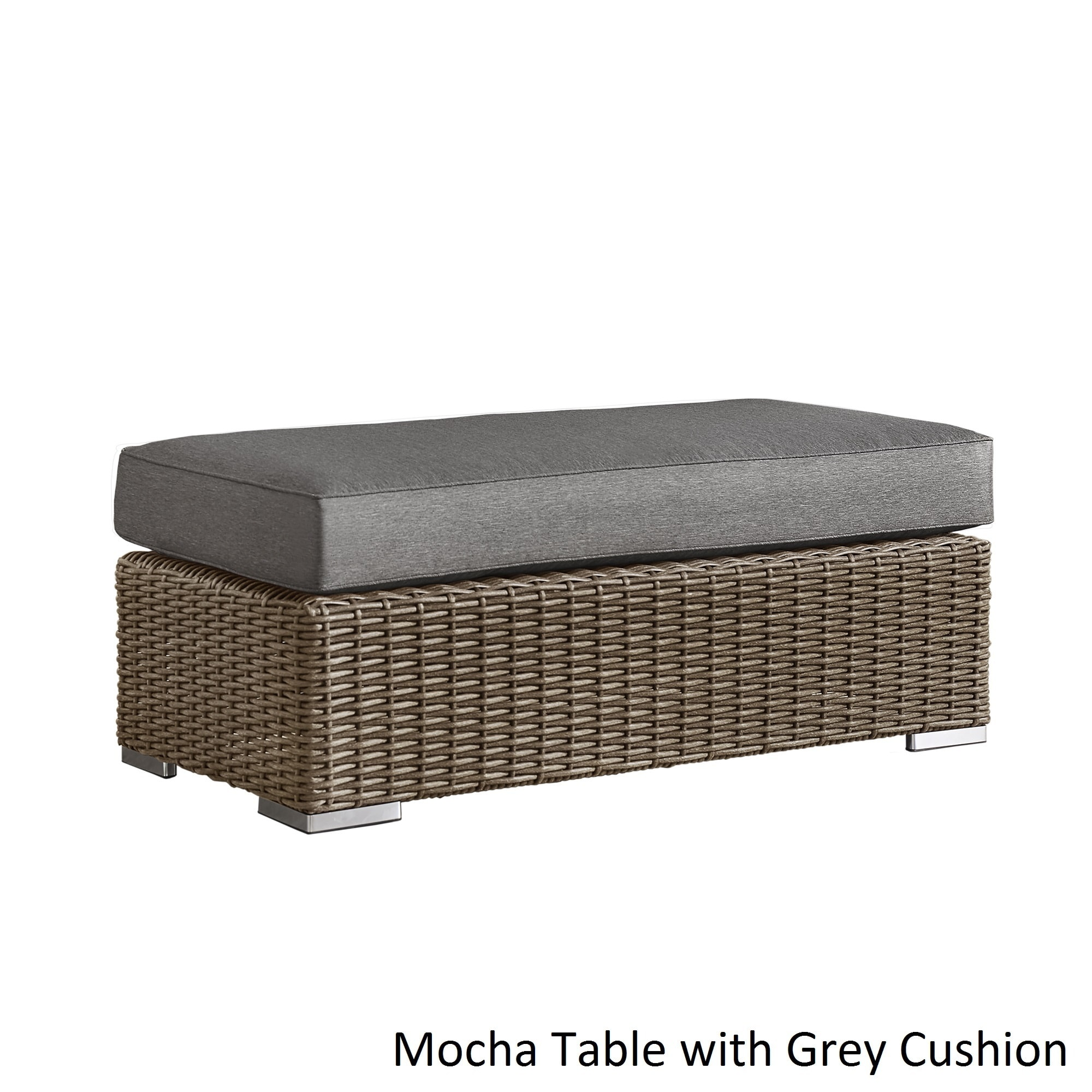 Barbados Wicker Patio Cushioned Rectangular Coffee Table Ottoman by iNSPIRE  Q Oasis - Free Shipping Today - Overstock.com - 19490939