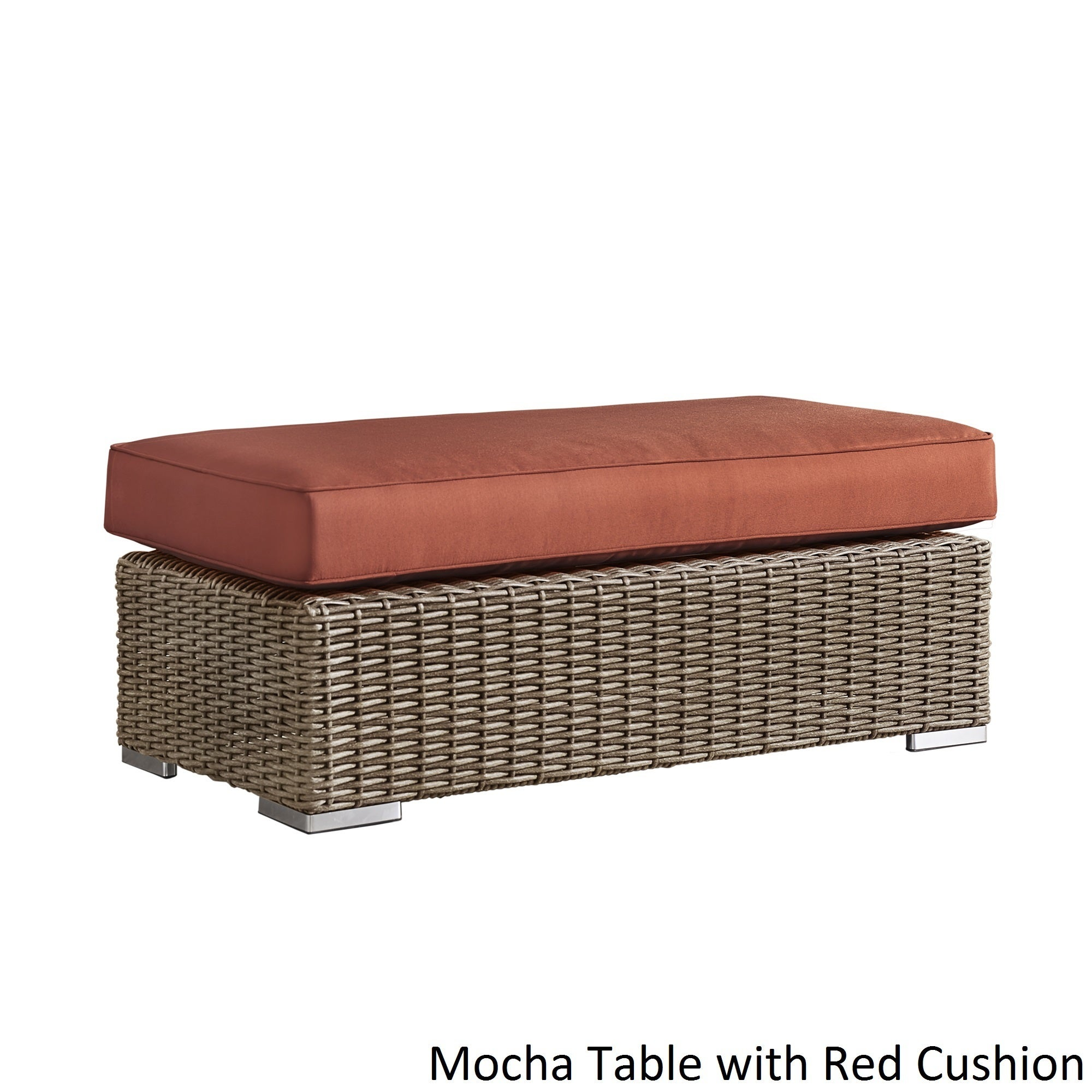 Shop Barbados Wicker Patio Cushioned Rectangular Coffee Table Ottoman By  INSPIRE Q Oasis   On Sale   Free Shipping Today   Overstock.com   12709630