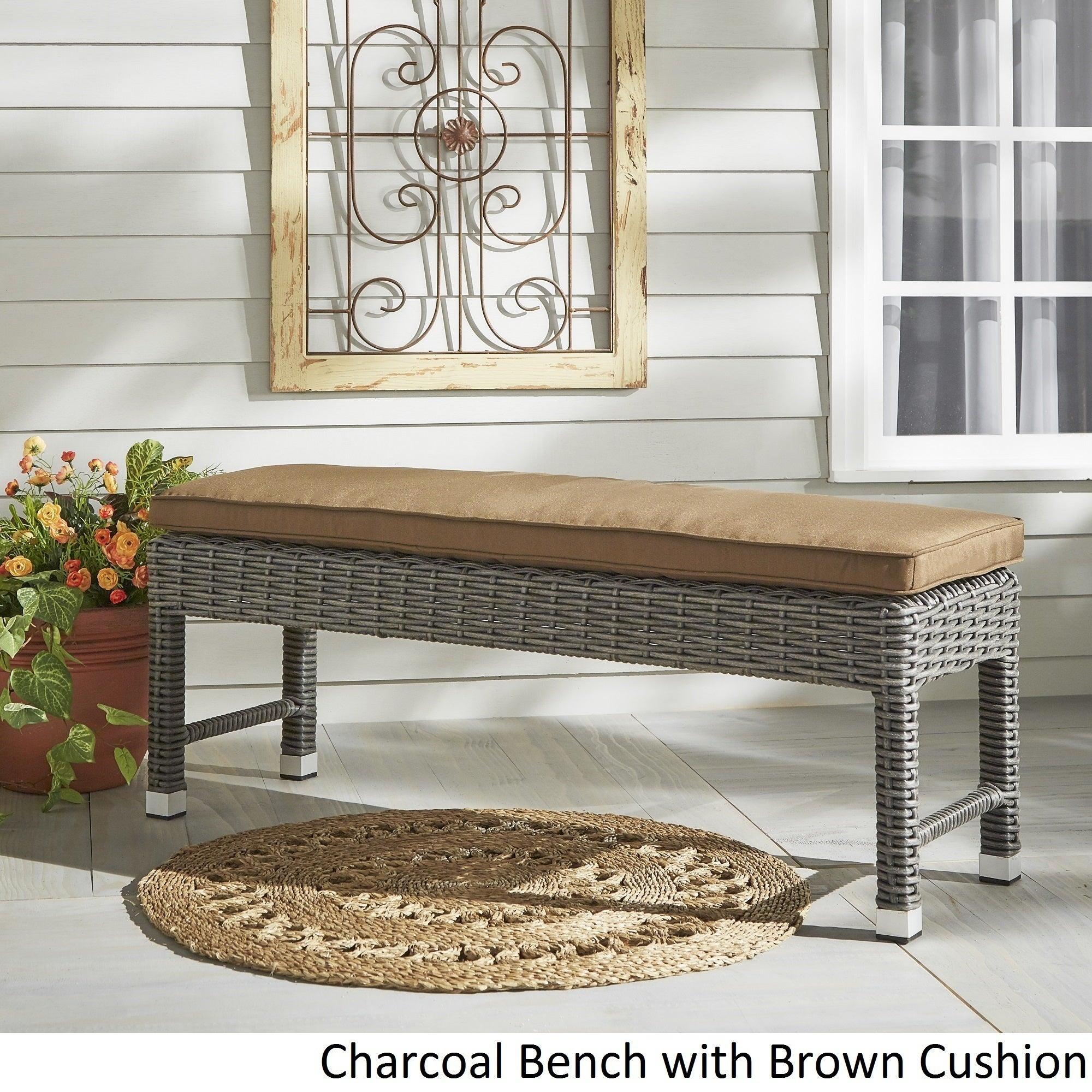 Shop Barbados Wicker 55 Inch Patio Cushioned Coffee Table Bench