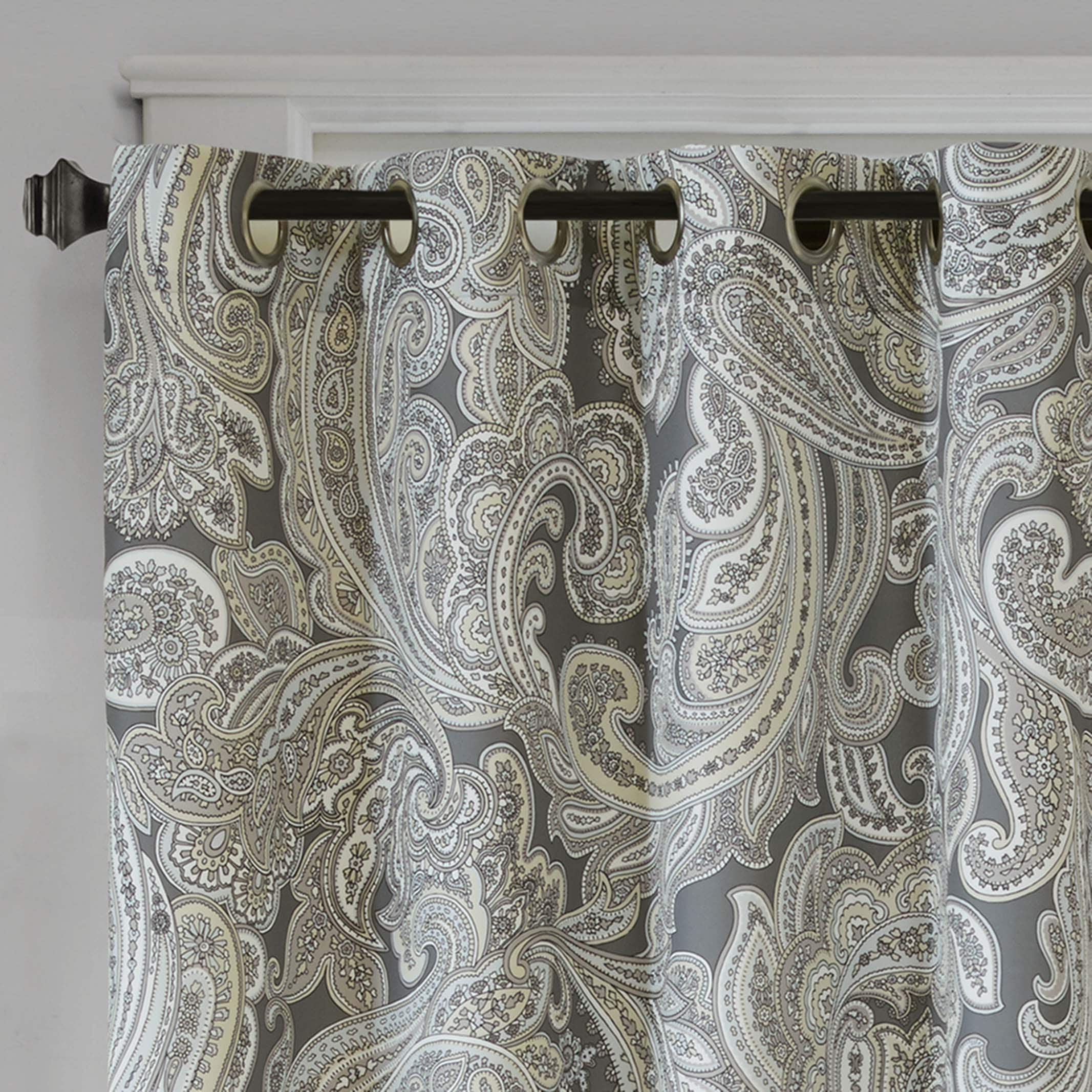 Shop Madison Park Racine Grey Cotton Printed Paisley Curtain Panel