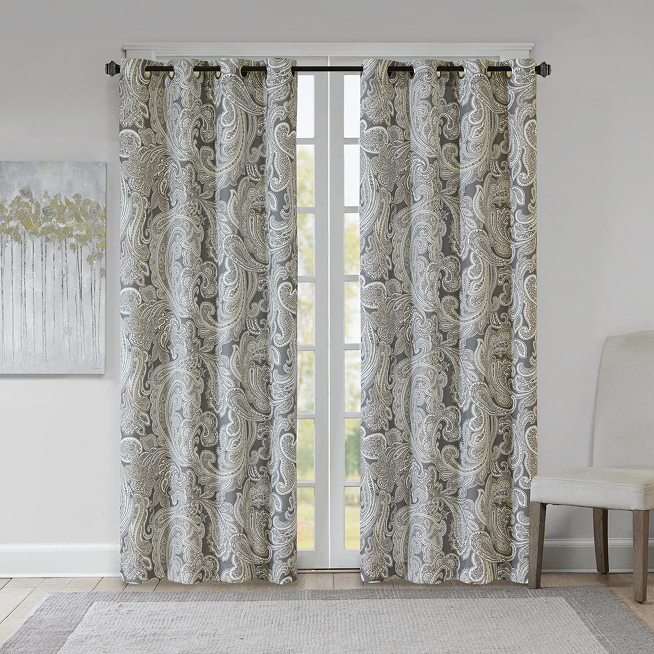 Shop The Gray Barn Yturria Grey Cotton Printed Paisley Curtain Panel