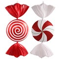 Red/White Plastic 37-inch Peppermint Spiral Candy Ornament