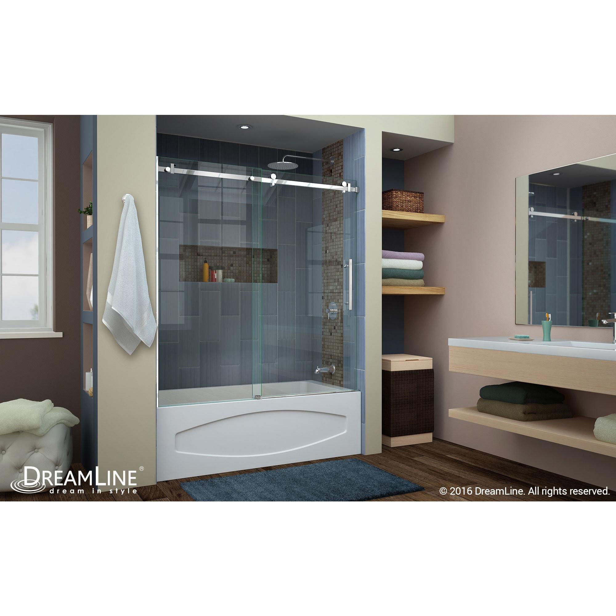 DreamLine Enigma Air 56 to 60 in. Frameless Sliding Tub Door - Free ...