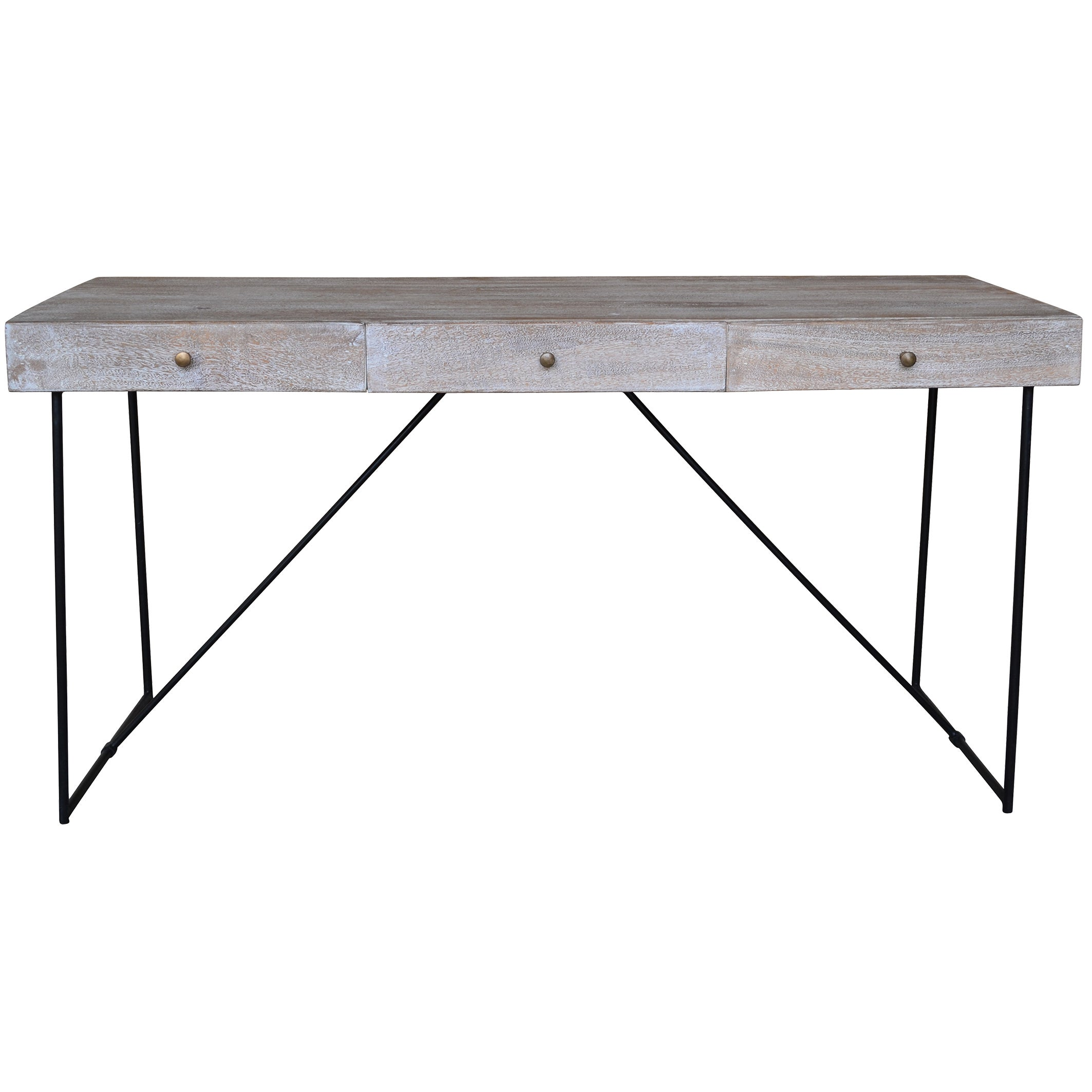 Watson Narrow Grey Wood 3 Drawer Console Table Free Shipping