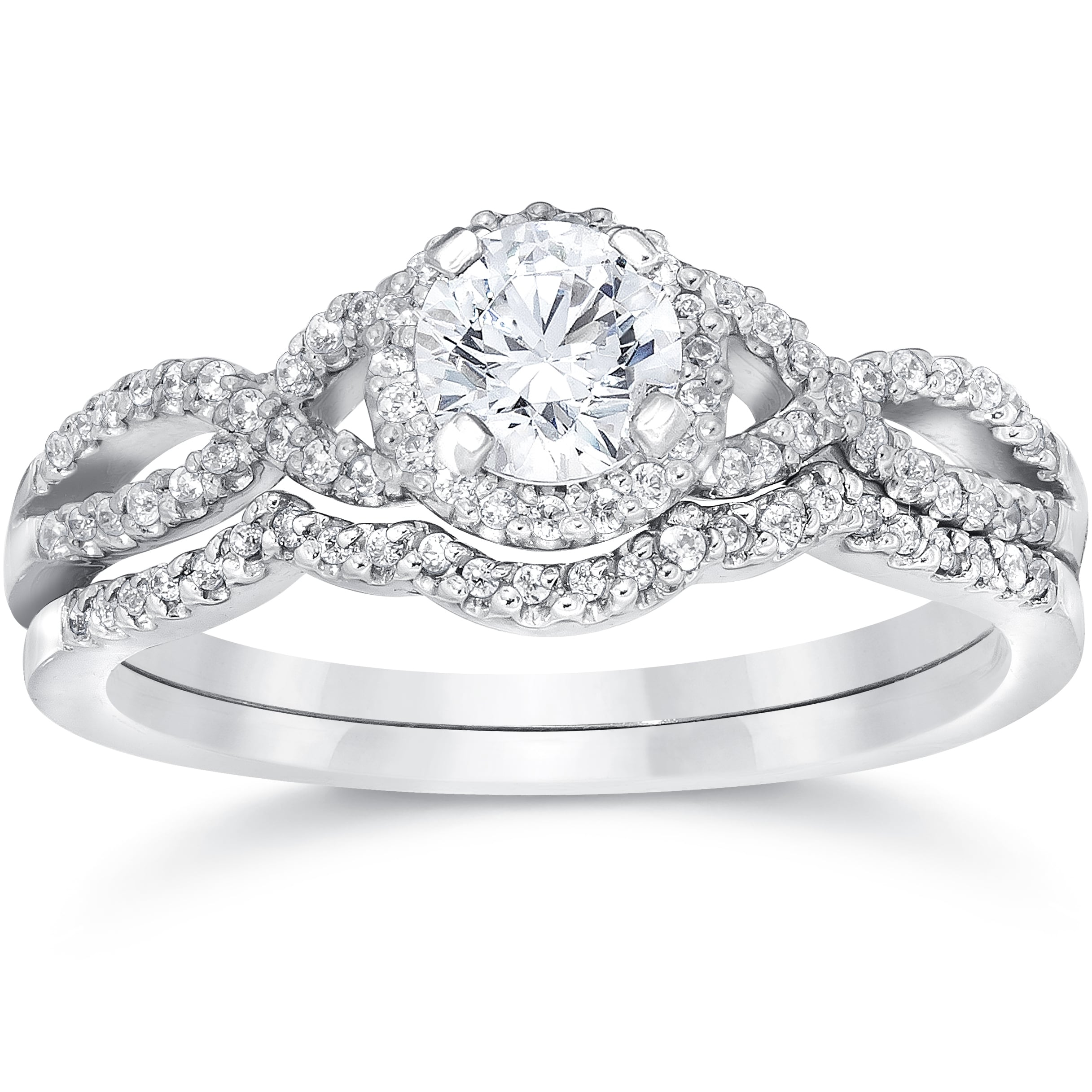 Shop 14k White Gold 3/4ct TDW Diamond Infinity Halo Engagement ...