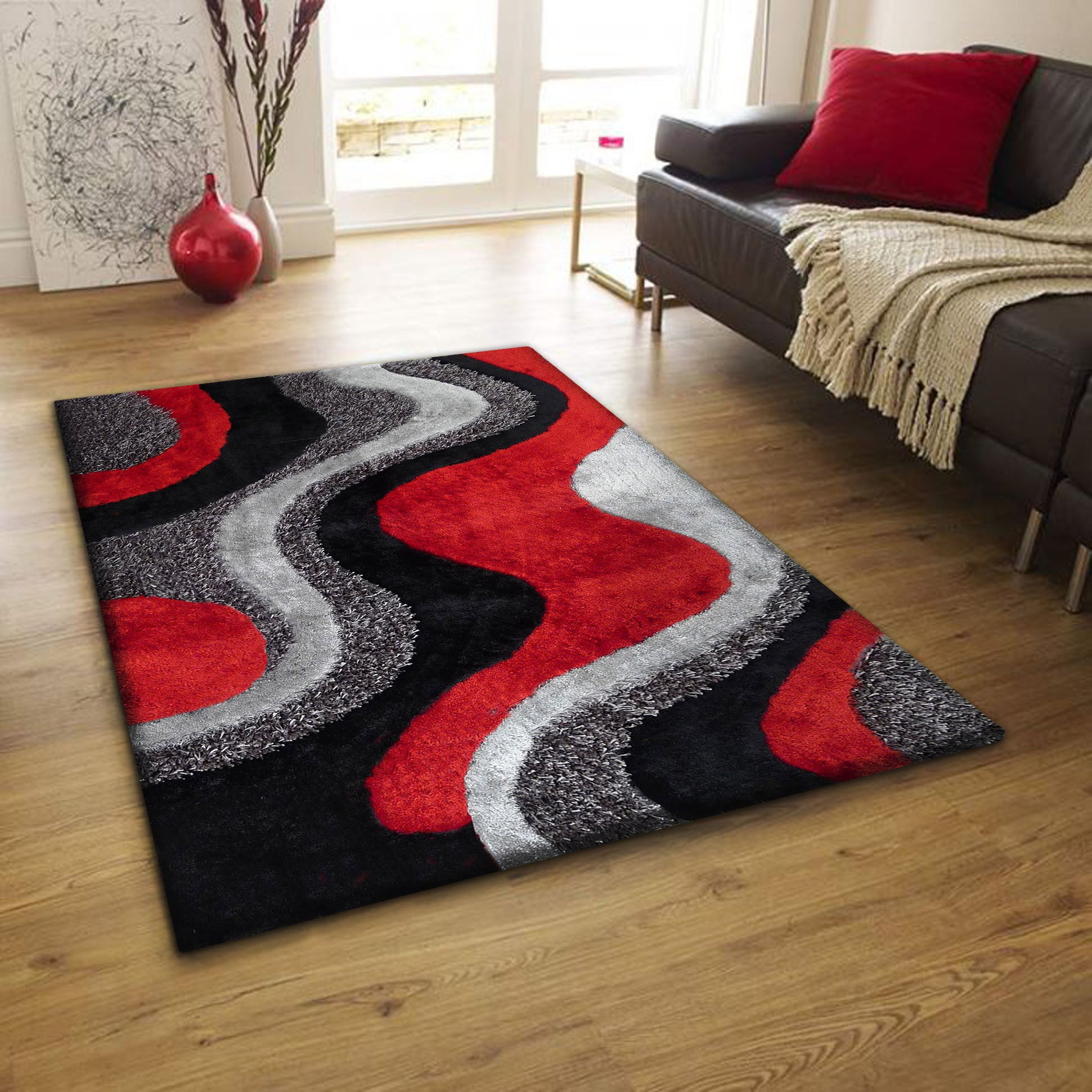 Shaggy Viscose Vibrant Waves Hand Tufted Shag Area Rug Red Gray White Black 8 X 11 On Free Shipping Today Com 12727778