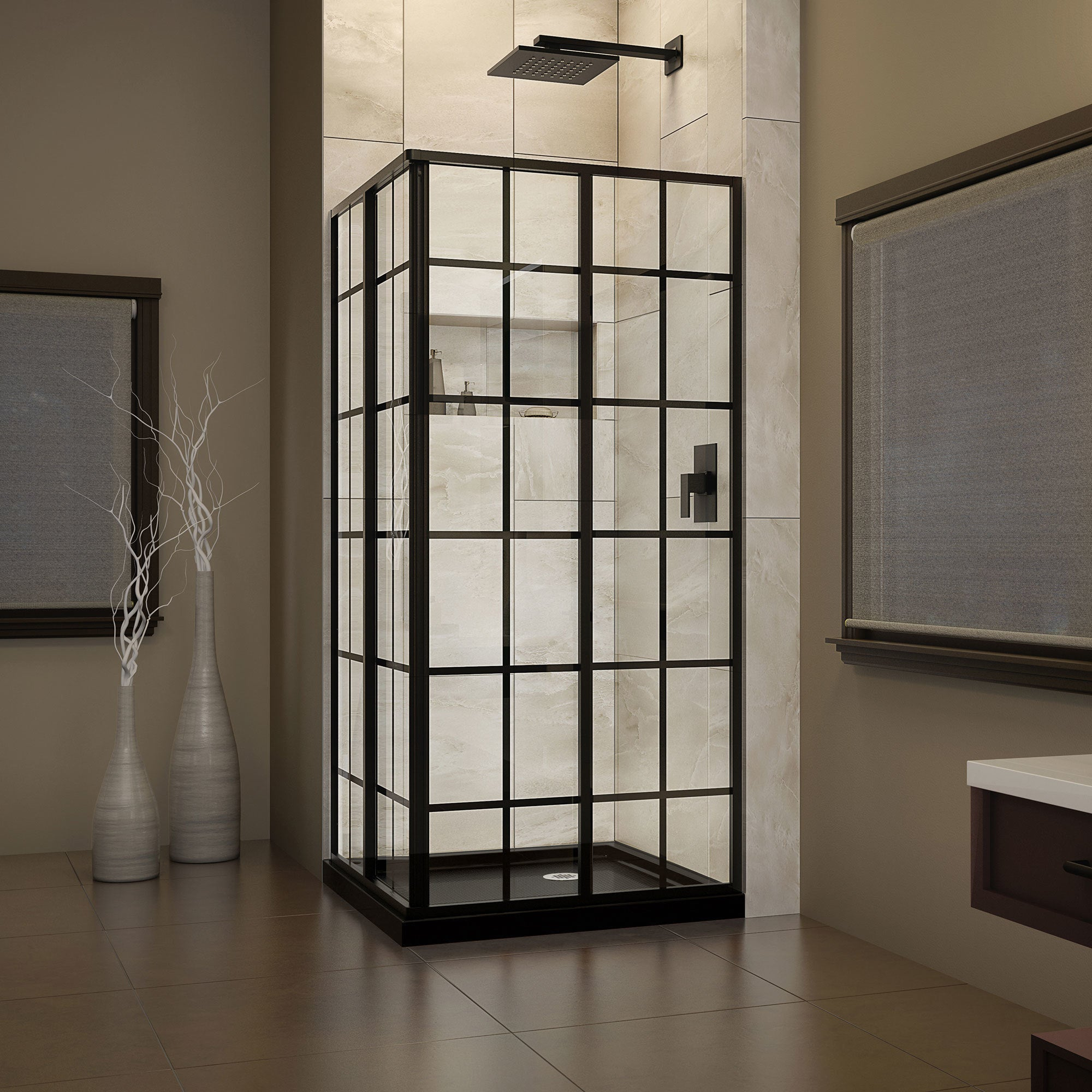 Shop DreamLine French Corner 36 in. D x 36 in. W x 74 3/4 in. H ...
