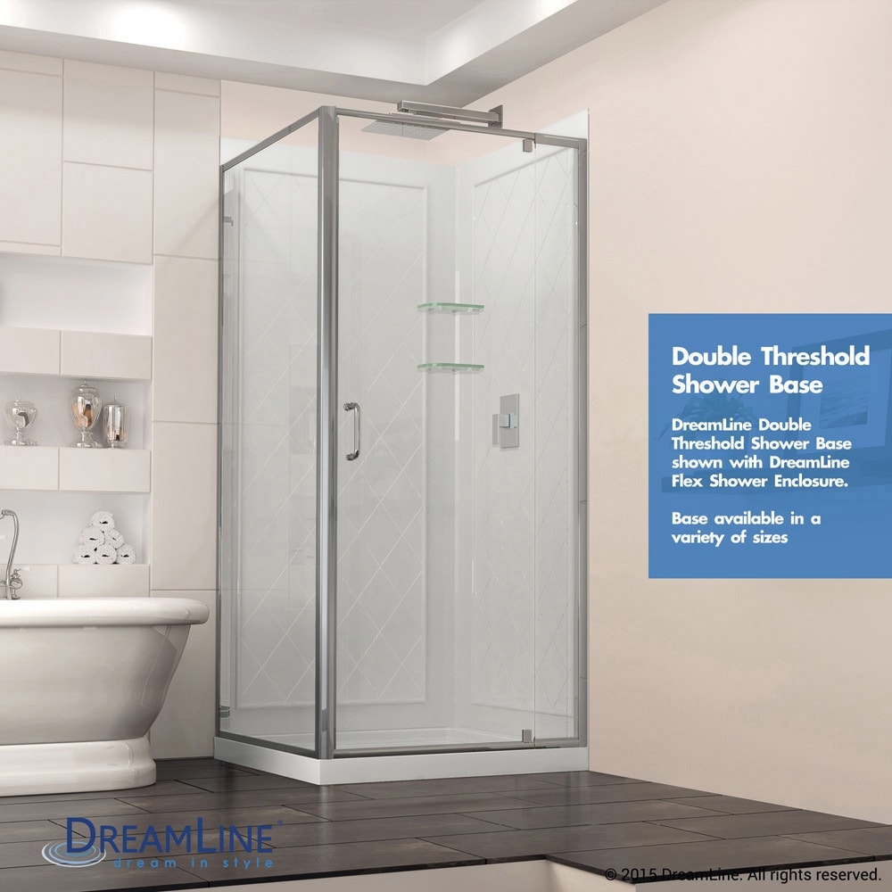 Shop DreamLine French Corner 36 In. D X 36 In. W X 74 3/4 In. H Framed  Sliding Shower Enclosure And Shower Base Kit   Free Shipping Today    Overstock.com   ...