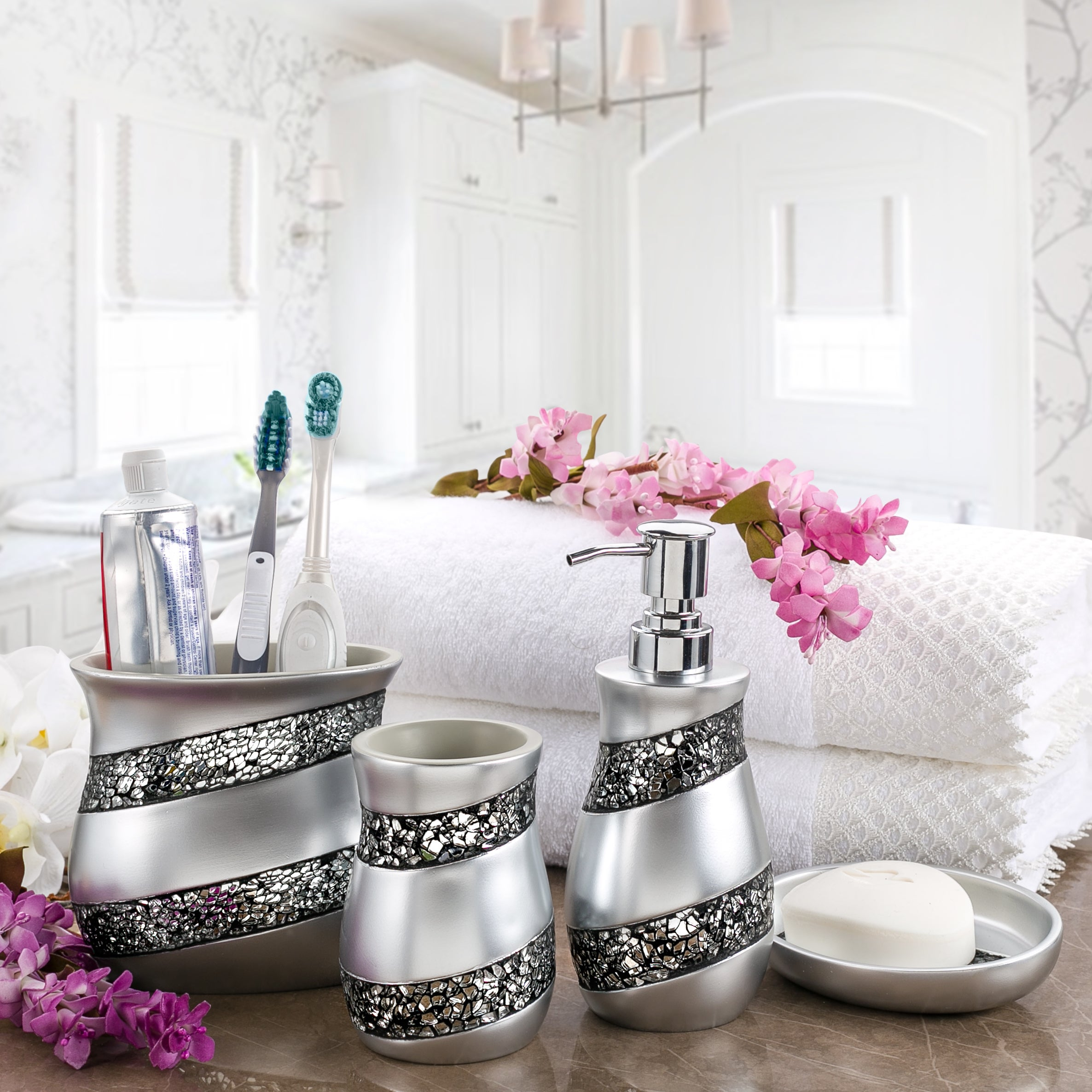 Shop Creative Scents Silver Mosaic Glass 4-Piece Bathroom Accessory ...