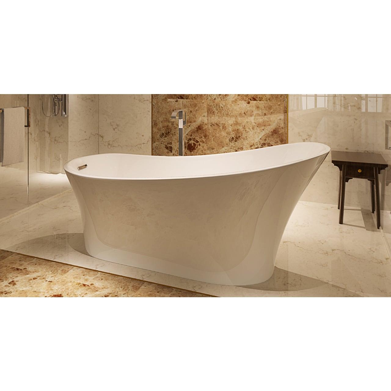 Shop HelixBath Alexandria 67-inch White Acrylic Freestanding Bathtub ...