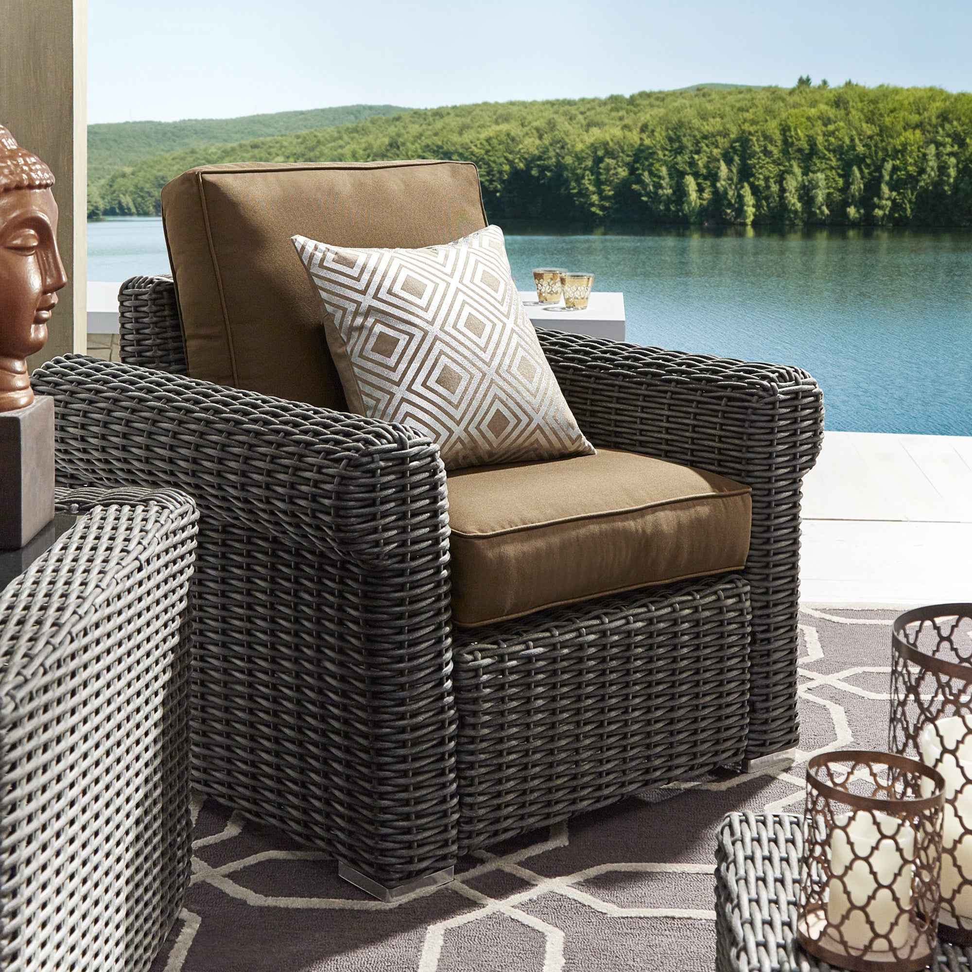 Barbados Wicker Outdoor Cushioned Grey Charcoal Occasional Chair ...