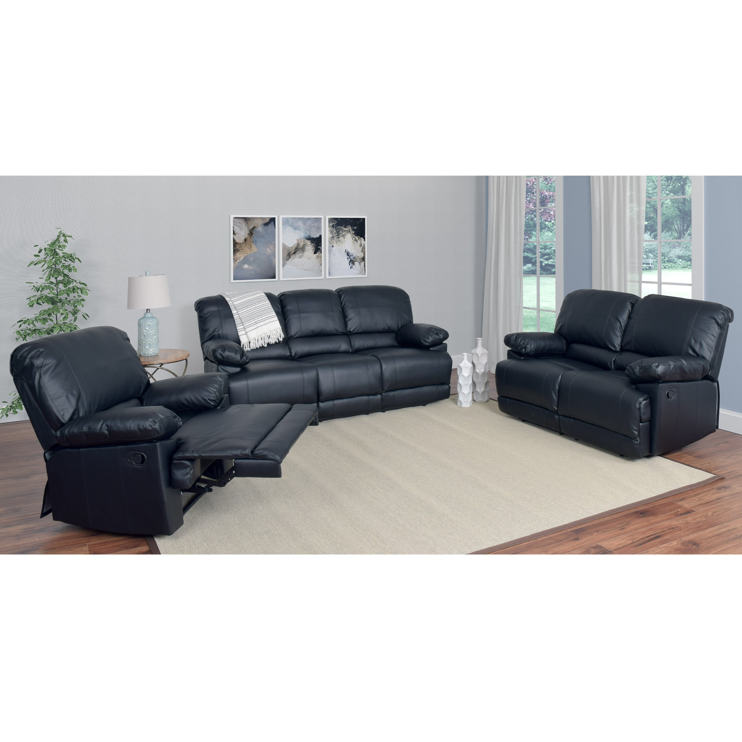 Shop Corliving Lea 3 Piece Bonded Leather Reclining Sofa Set Free