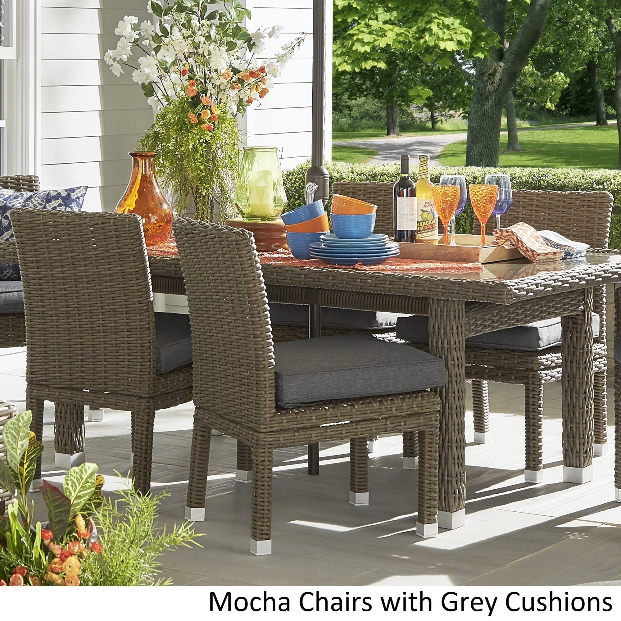 Shop Barbados Wicker Patio Cushioned Dining Side Chair (Set of 2 ...