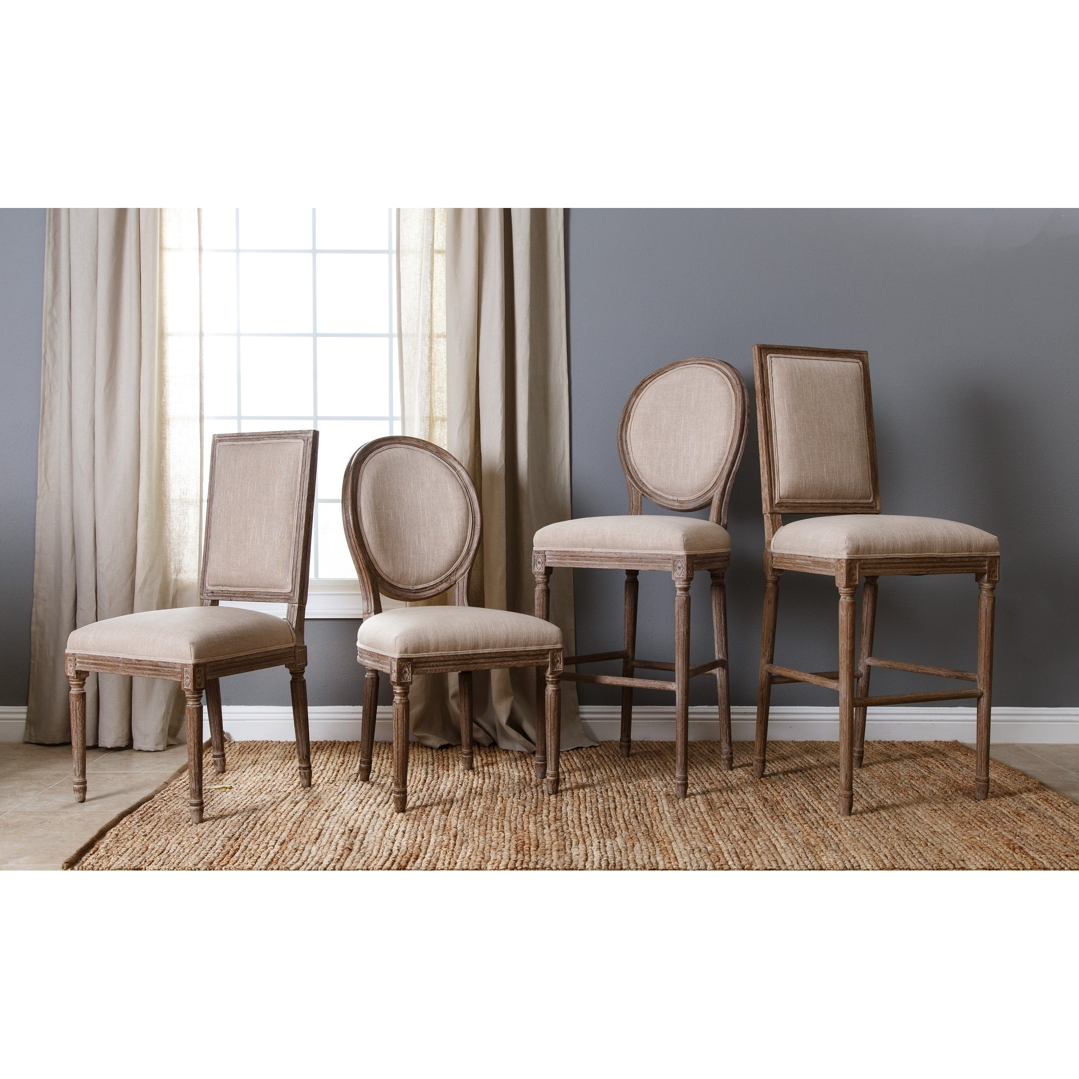 Top Abbyson French Vintage Linen Round Back Dining Chair - Free  KS28