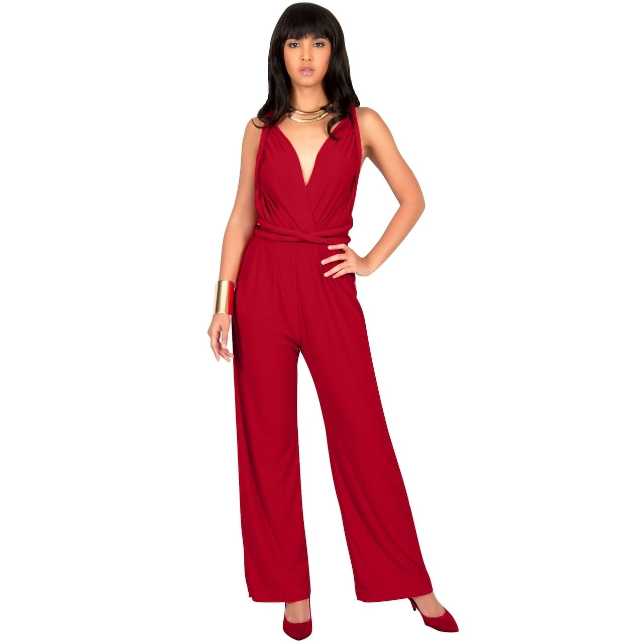 168fb41c964 Shop KOH KOH Womens Convertible Wrap Cocktail Party Jumpsuit Romper Pants -  Free Shipping Today - Overstock - 12736524
