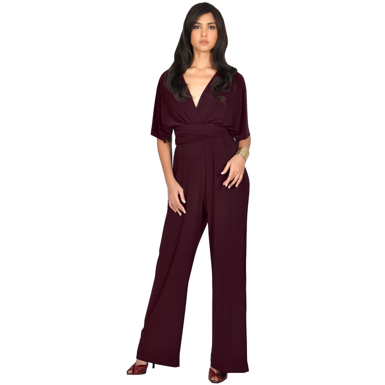 fc6bffe7fa8 Shop KOH KOH Womens Convertible Wrap Cocktail Party Jumpsuit Romper Pants -  Free Shipping Today - Overstock - 12736524
