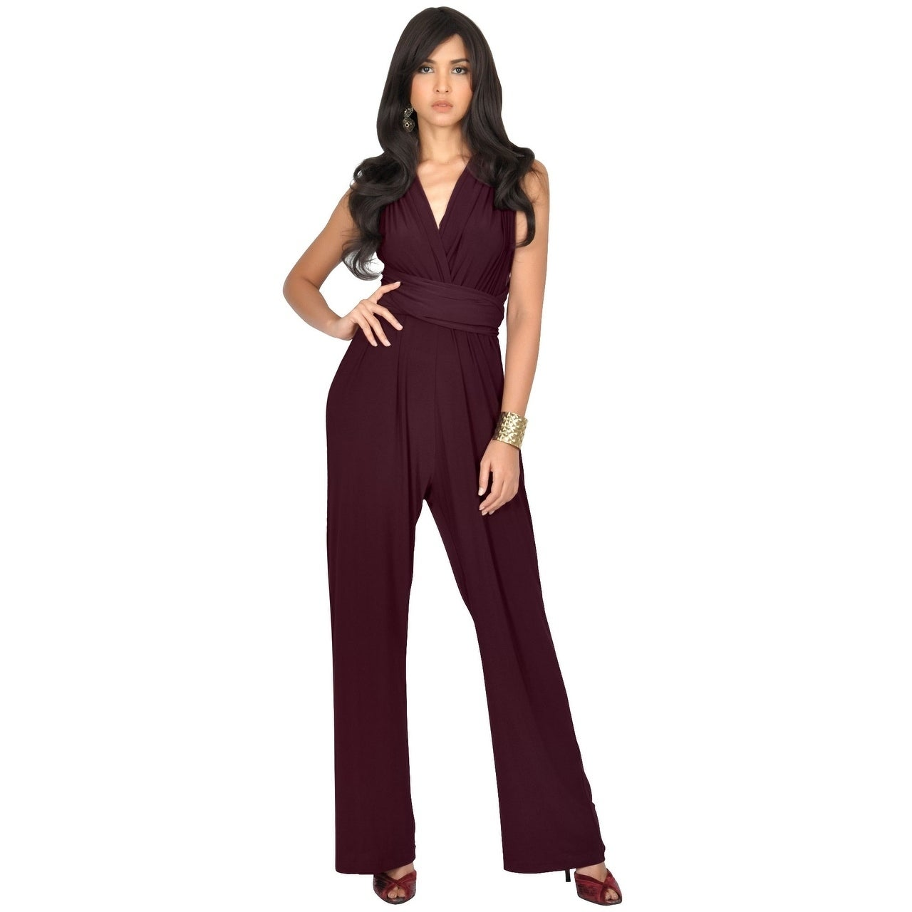 77c176c8802 Shop KOH KOH Womens Convertible Wrap Cocktail Party Jumpsuit Romper Pants - Free  Shipping Today - Overstock - 12736524