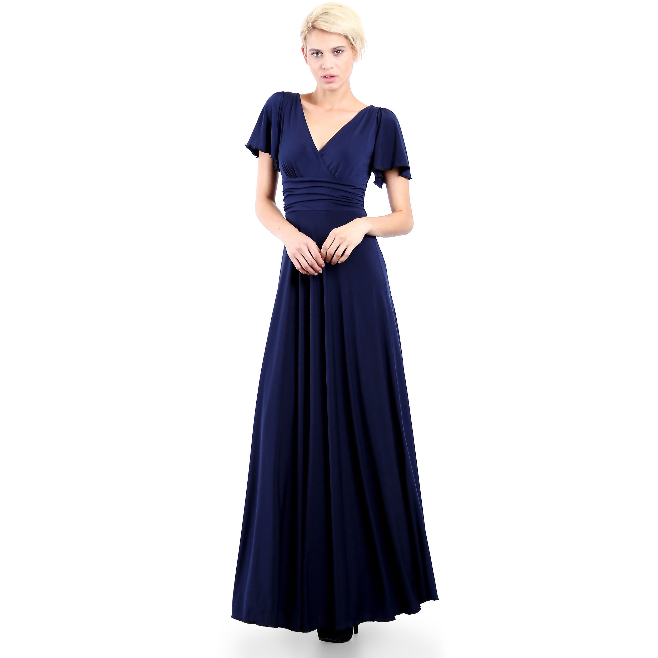 Evanese Womens Elegant Slip On Long Formal Evening Party Dress With