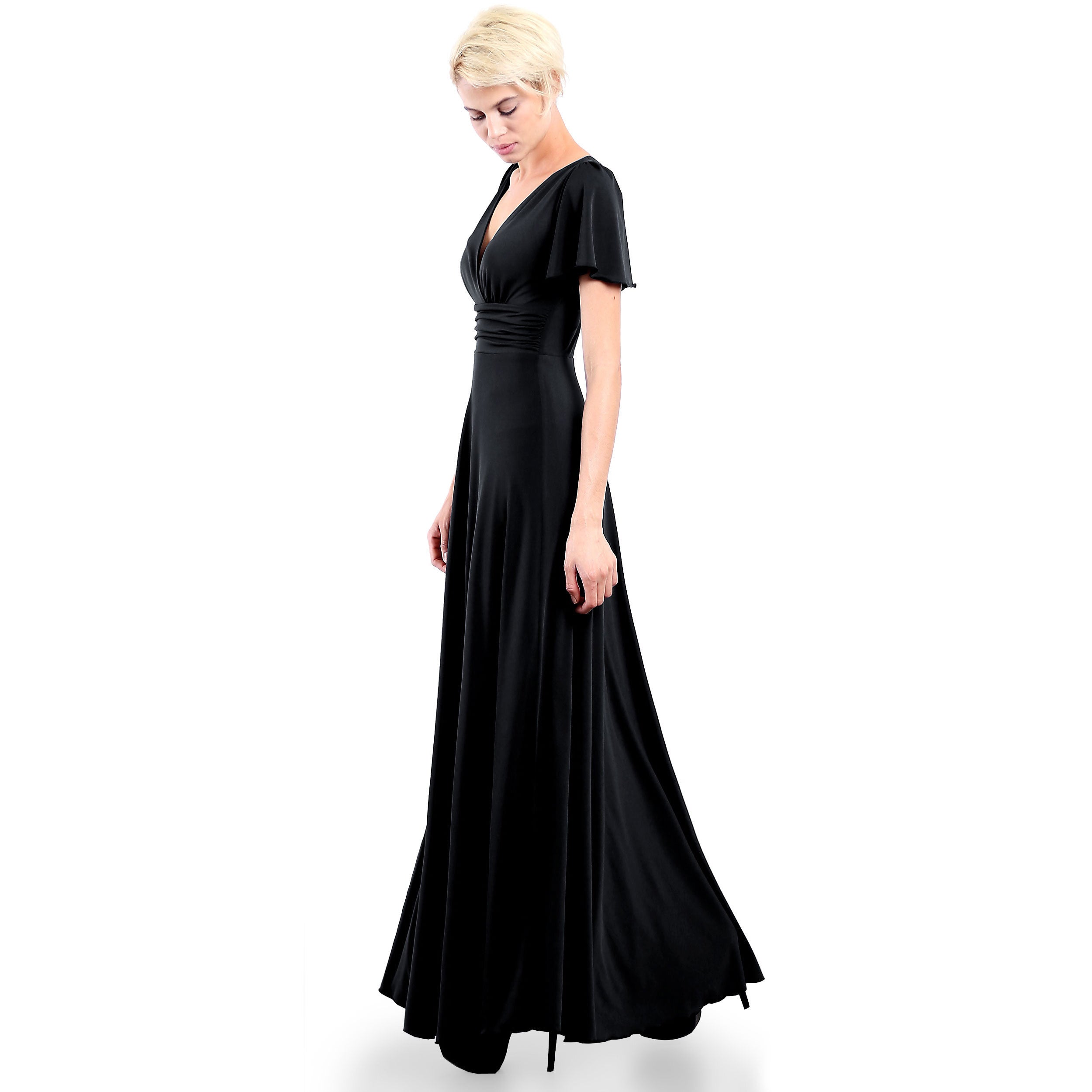 bba2389f04eb Shop Evanese Women's Elegant Slip-on Long Formal Evening Party Dress with  Empire Waist Full Skirt and Short Sleeves - Free Shipping Today - Overstock  - ...