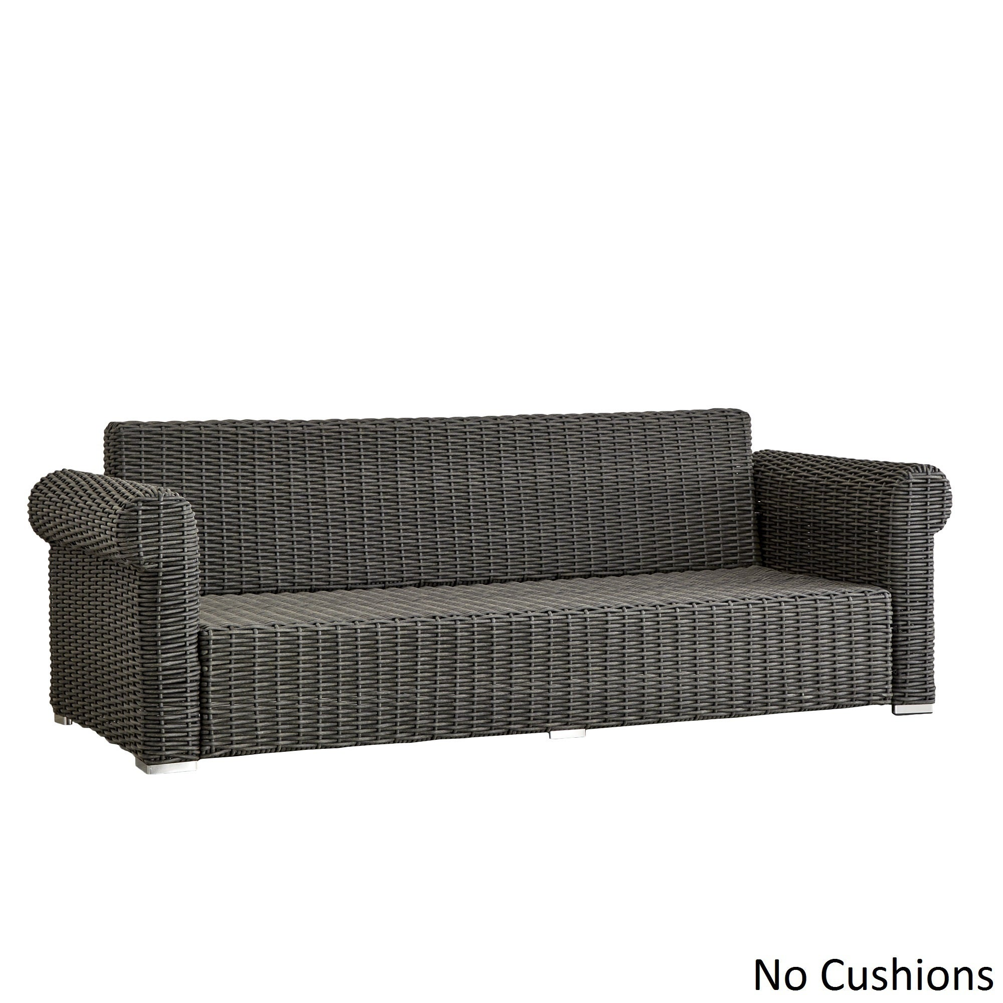 Barbados Wicker Outdoor Cushioned Grey Charcoal Sofa With Rolled Arm Inspire Q Oasis Free Shipping Today 12747569