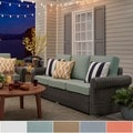 Barbados Wicker Outdoor Cushioned Grey Charcoal Sofa with Rolled Arm iNSPIRE Q Oasis