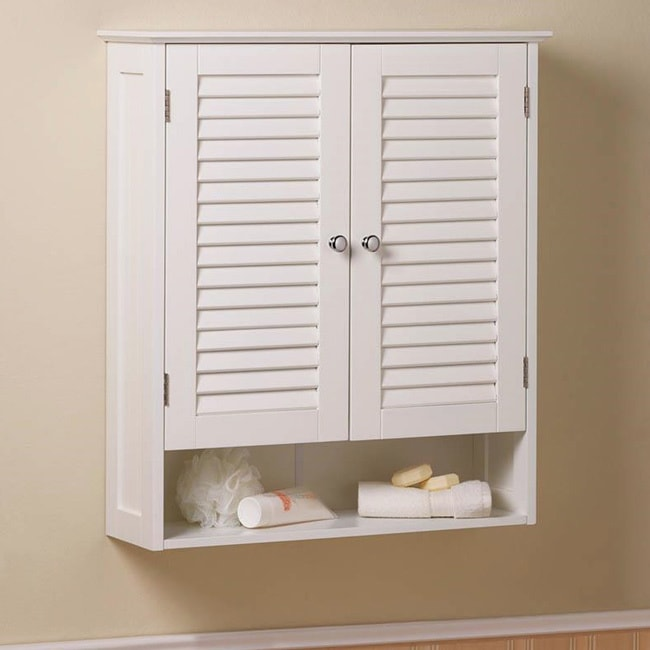 Shop Olympia Wall Mounted 2 Door Louvered Cabinet   White   On Sale   Free  Shipping Today   Overstock.com   12747830
