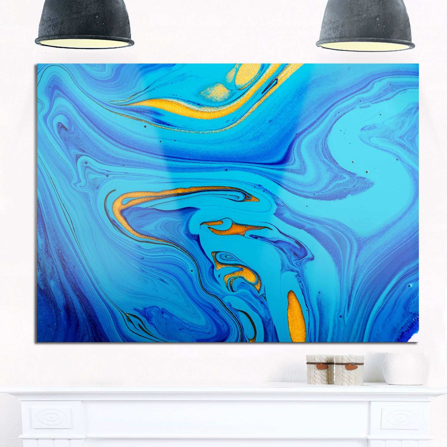 Light Blue Abstract Acrylic Paint Mix Glossy Metal Wall Art On Free Shipping Today 12750332