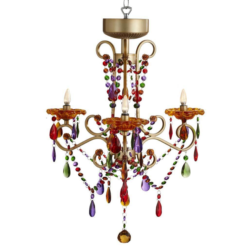 Carnivale multicolored metalcrystalglass 3 arm cordless carnivale multicolored metalcrystalglass 3 arm cordless chandelier free shipping today overstock 19527518 arubaitofo Image collections