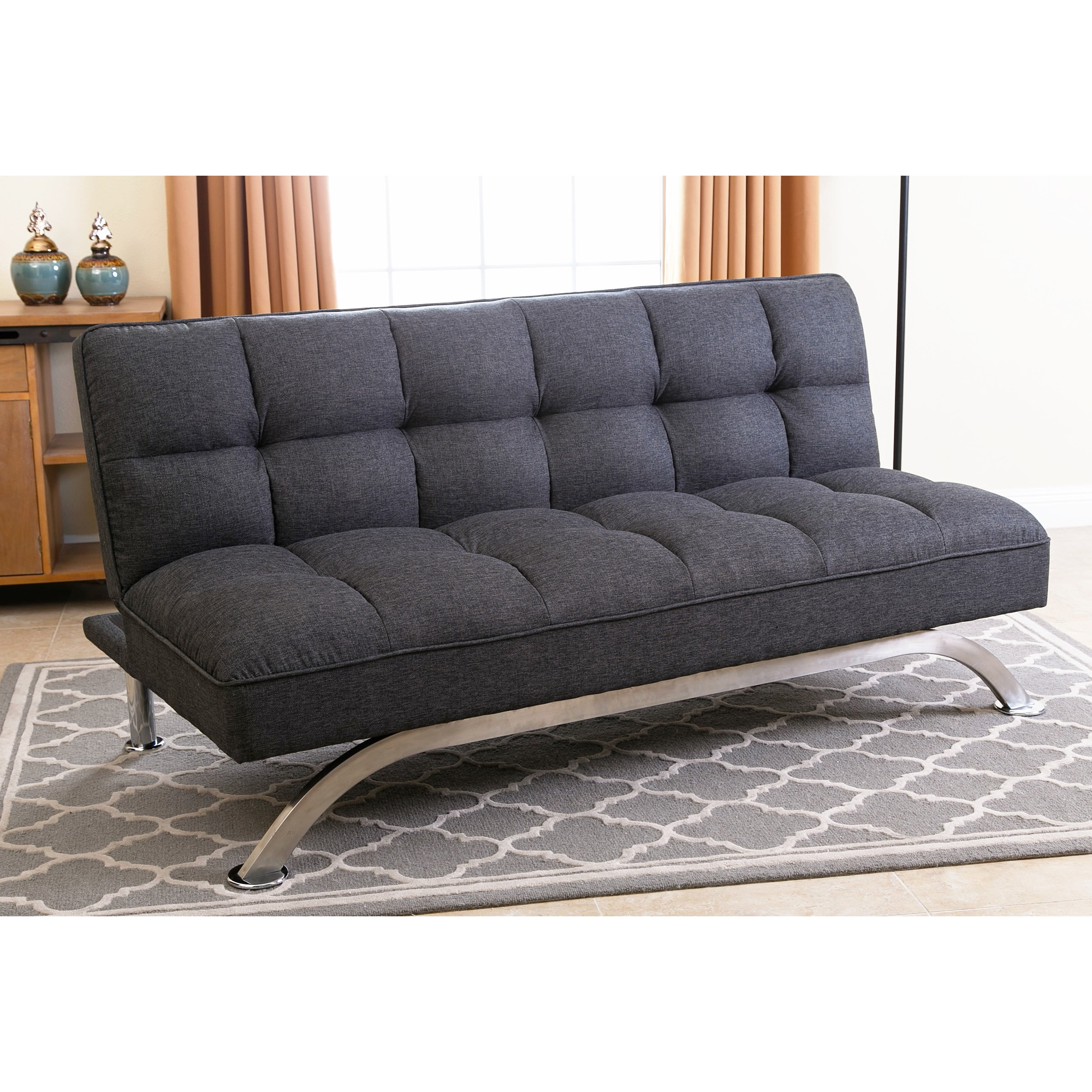 Abbyson Bella Grey Linen Tufted Futon Sofa Bed Free Shipping Today Com 19528131