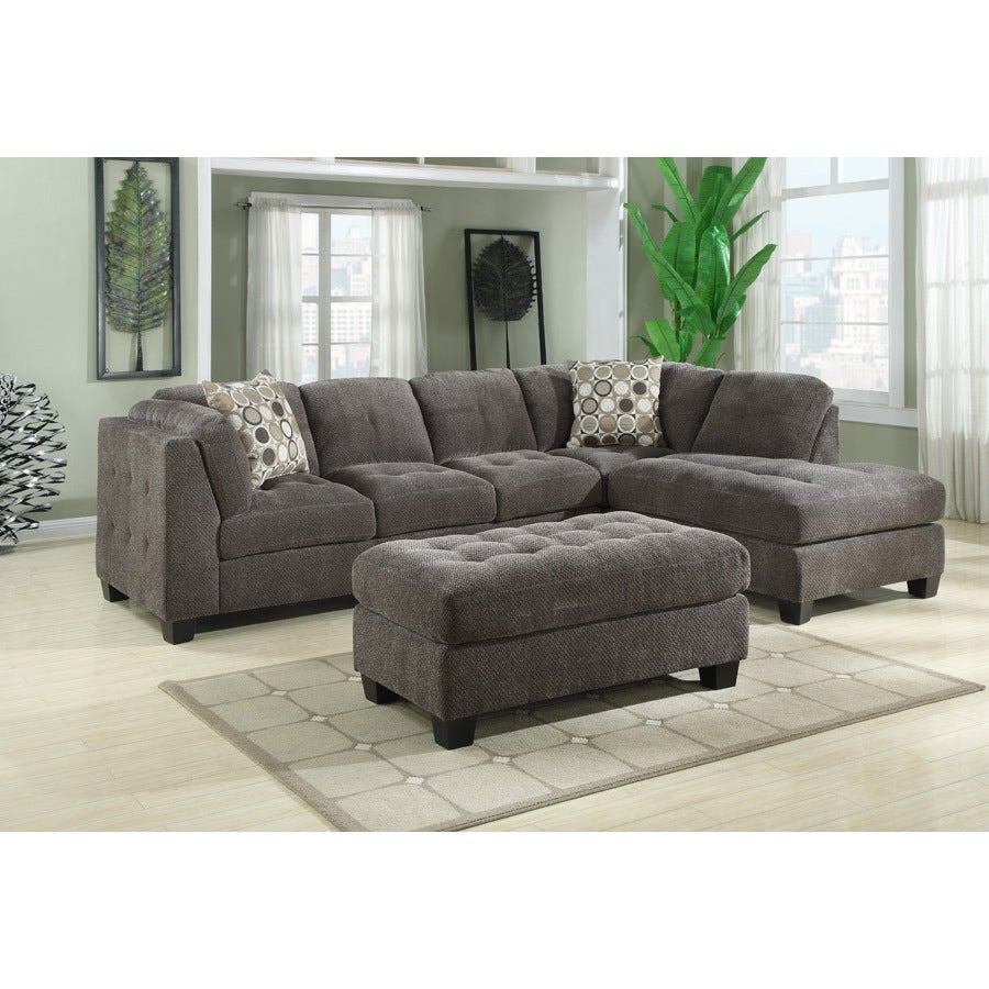 Shop emerald home trinton gray chofa sectional with block feet and button tufted seat cushions and sides free shipping today overstock com 12754028