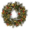 24-inch Wintry Pine Wreath With Battery Operated Warm White LED Lights