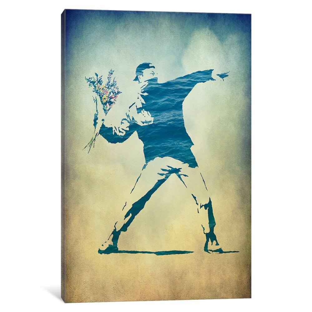 iCanvas Rage, Flower Thrower Watercolor by Banksy Canvas Print ...