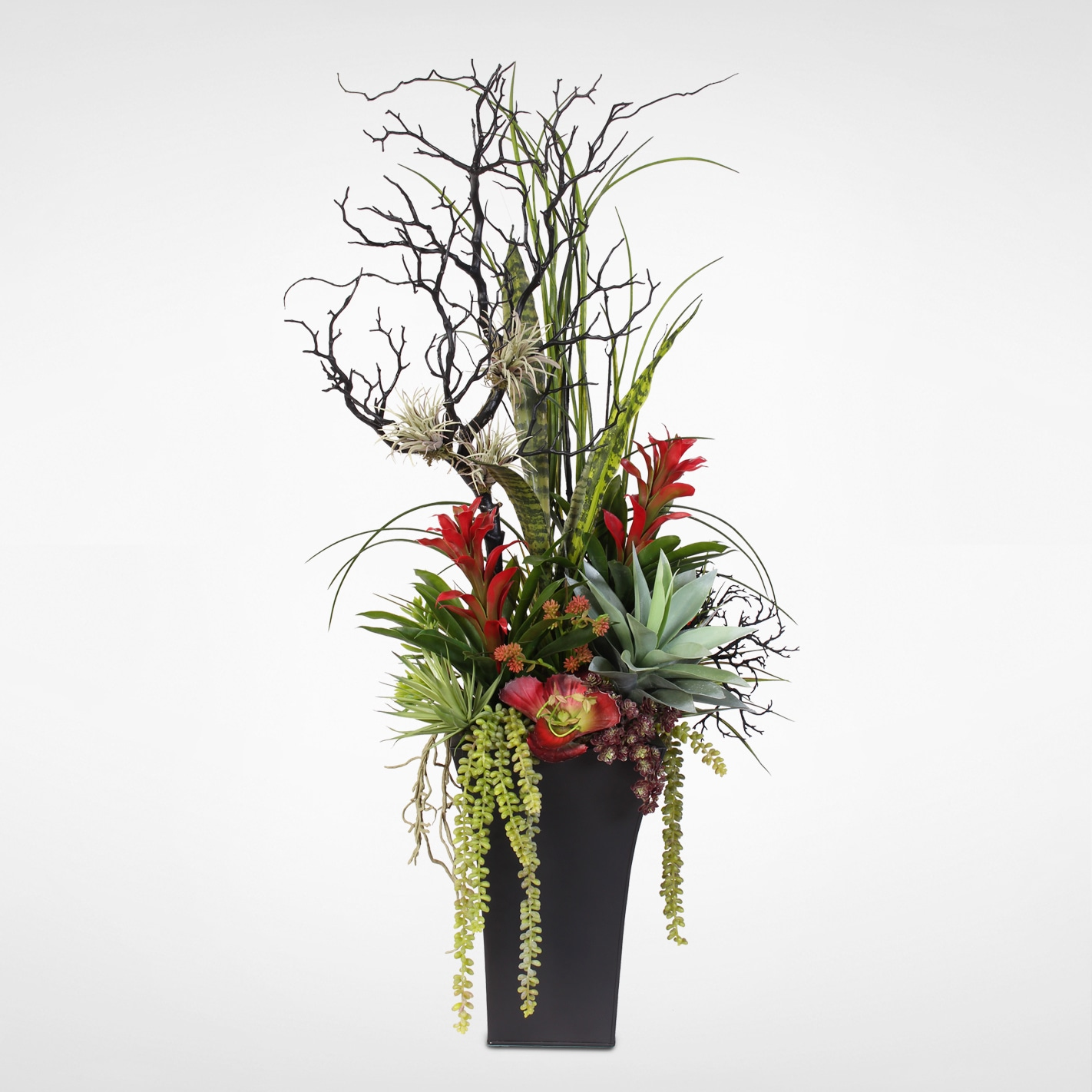 Shop Contemporary Silk Flower Arrangement In Tall Metal Container