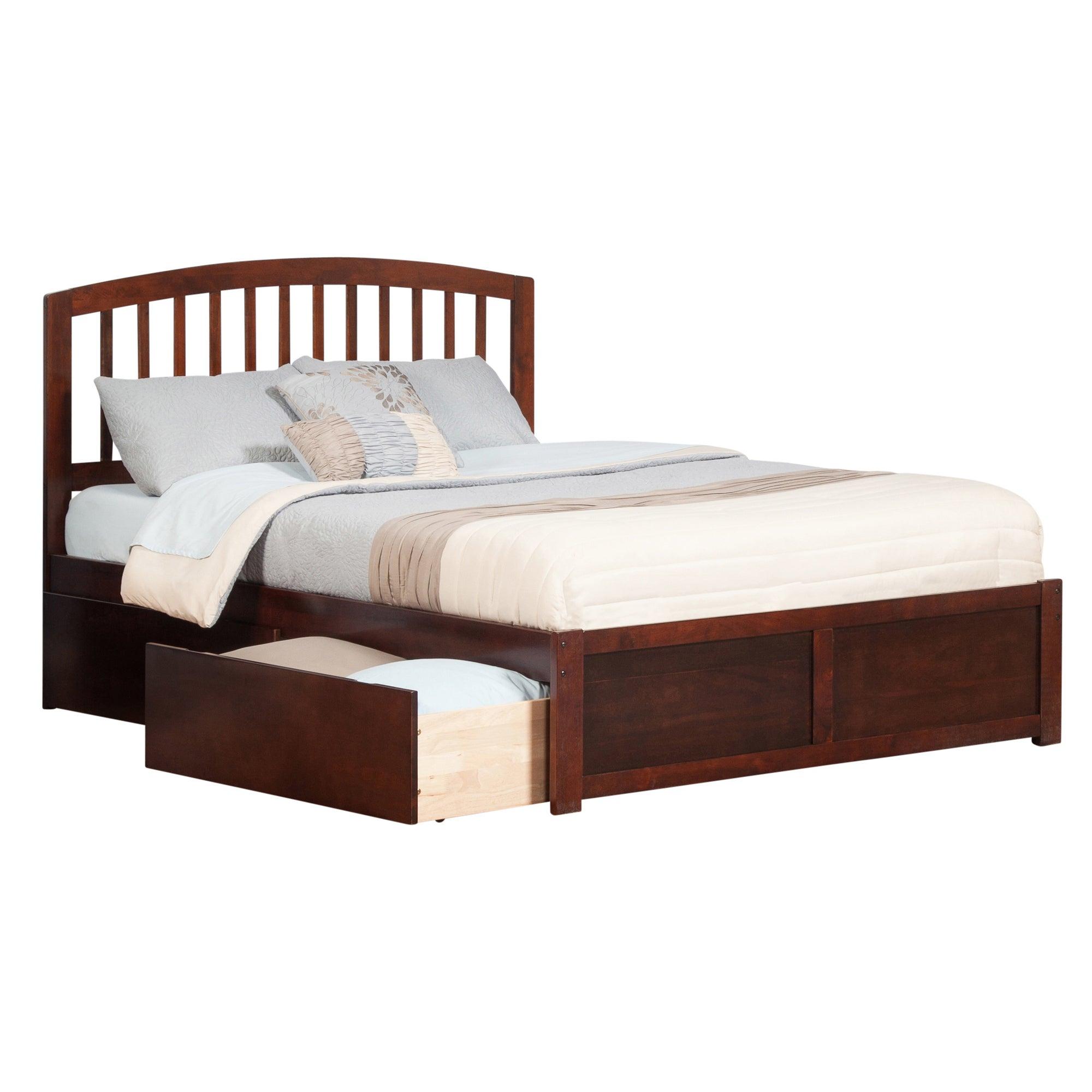 Atlantic Richmond Walnut Finish Wood King Size 2 Drawer Platform Bed