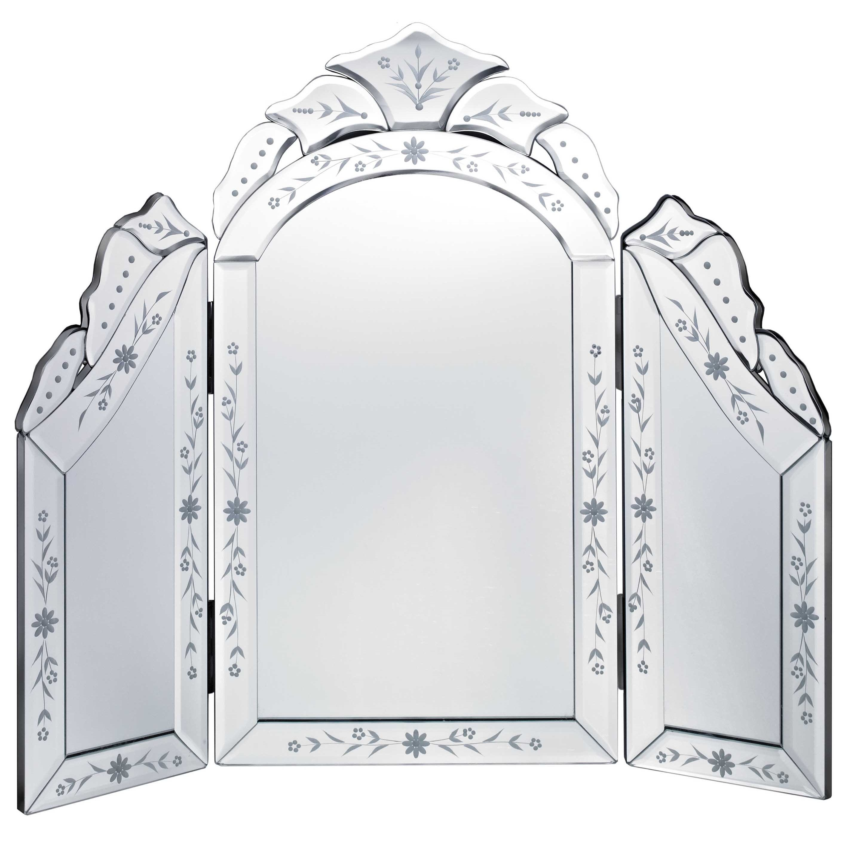 Shop Venetian Glass Tri Fold Dressing Table Mirror   Free Shipping Today    Overstock.com   12776747