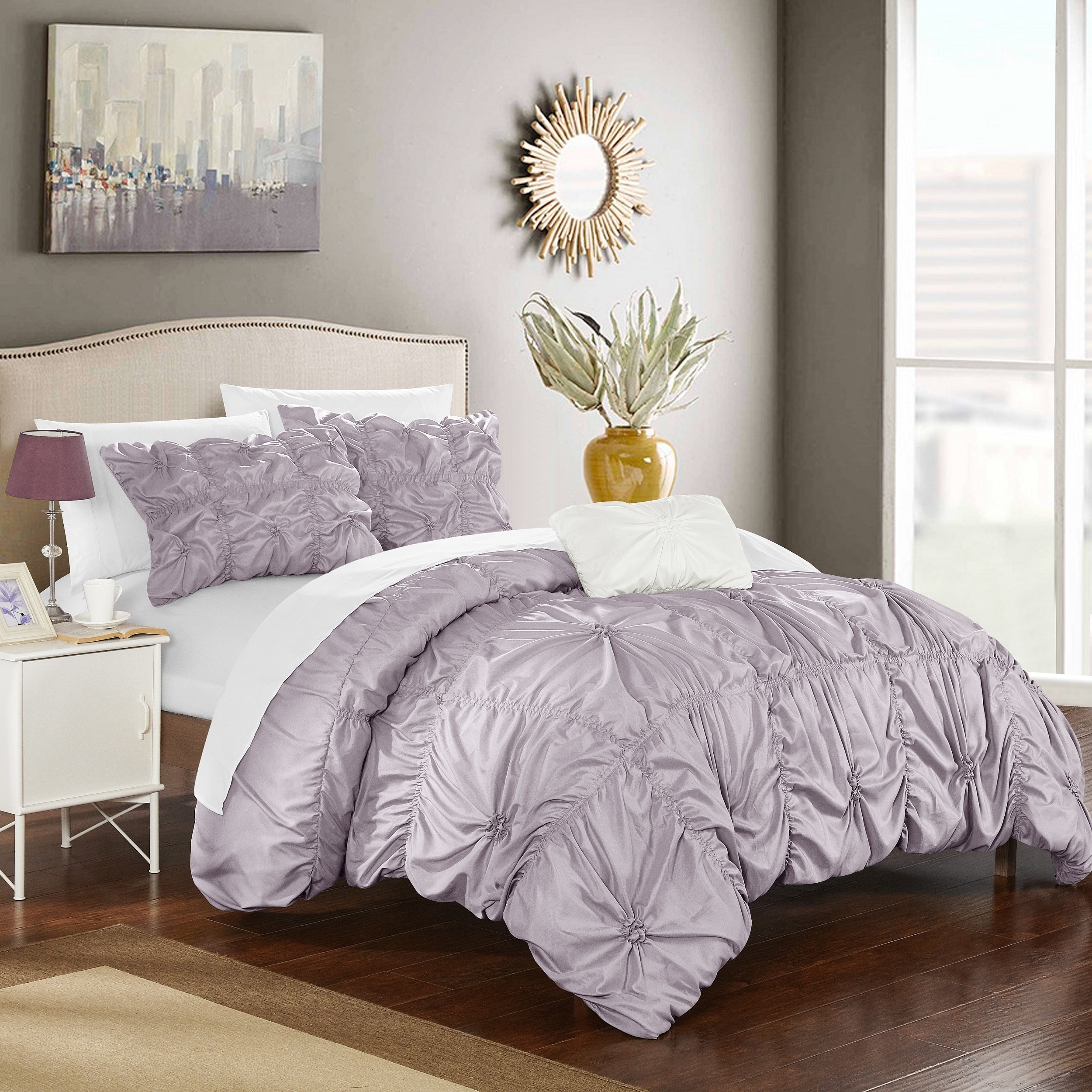 Shop chic home 4 piece benedict lavender duvet cover set on sale free shipping today overstock com 12776813